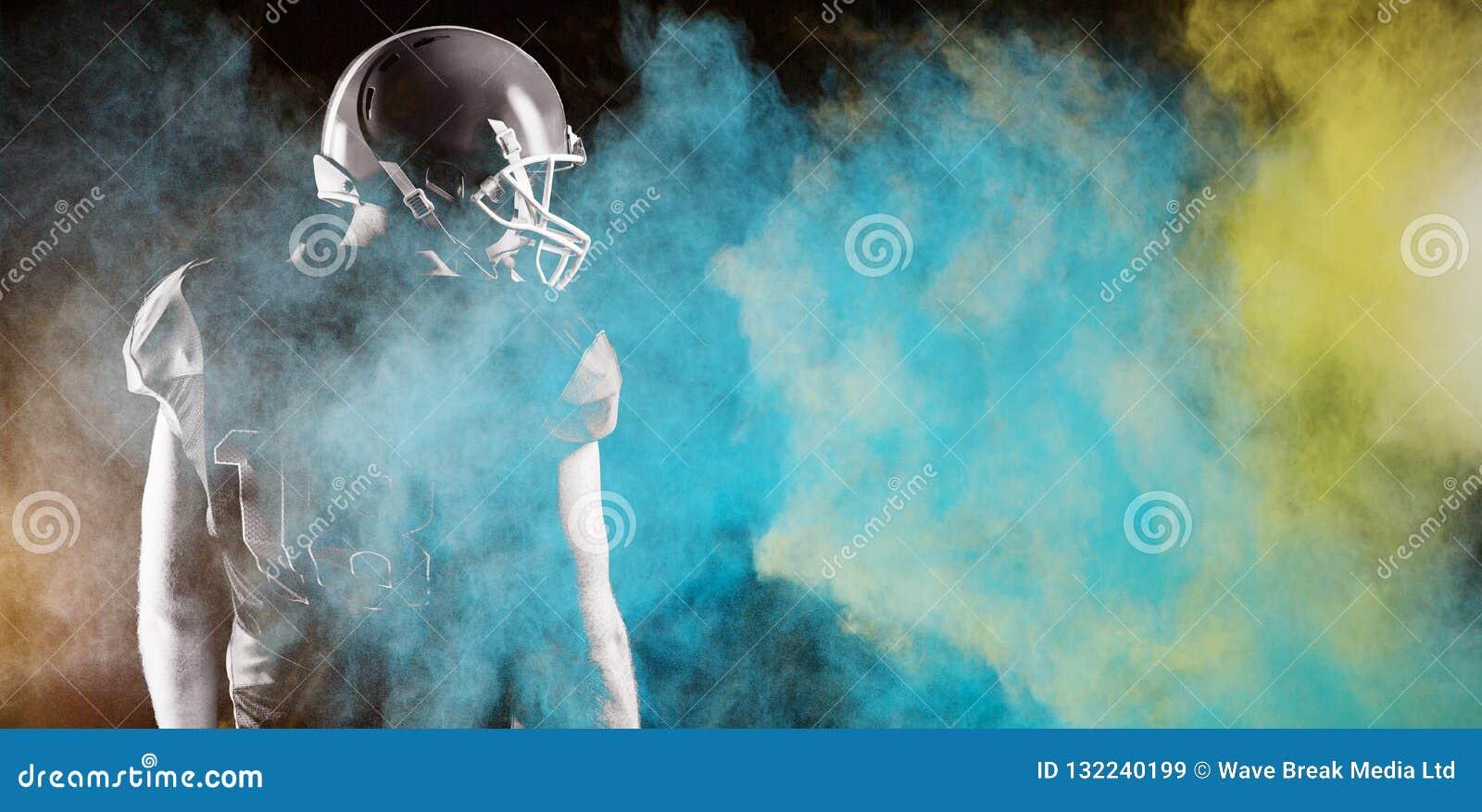 Composite image of splashing of blue color powder