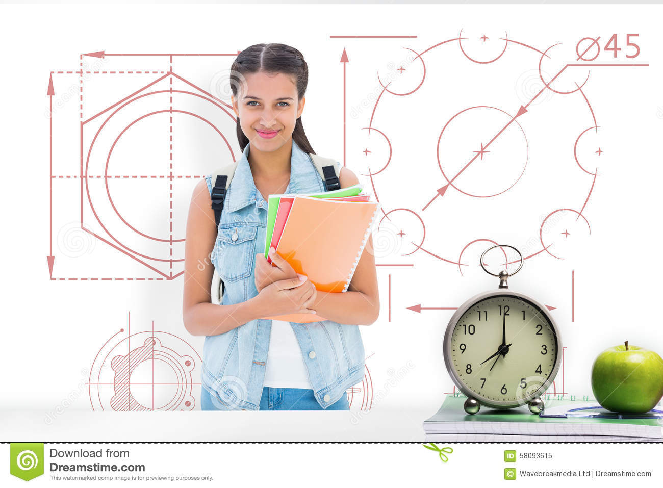 Composite image of student holding notebooks
