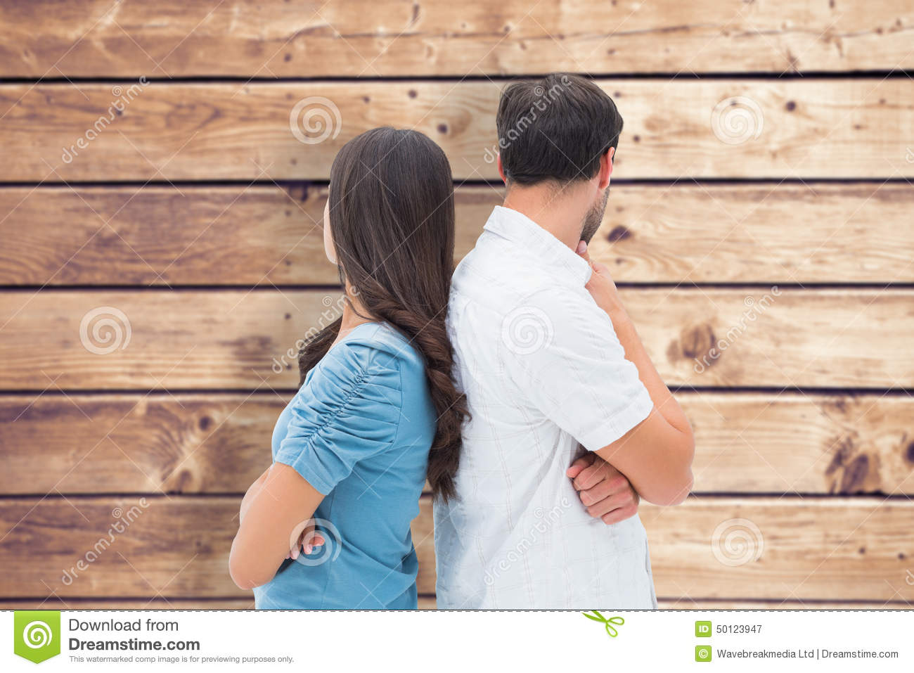 Composite image of upset couple not talking to each other after fight