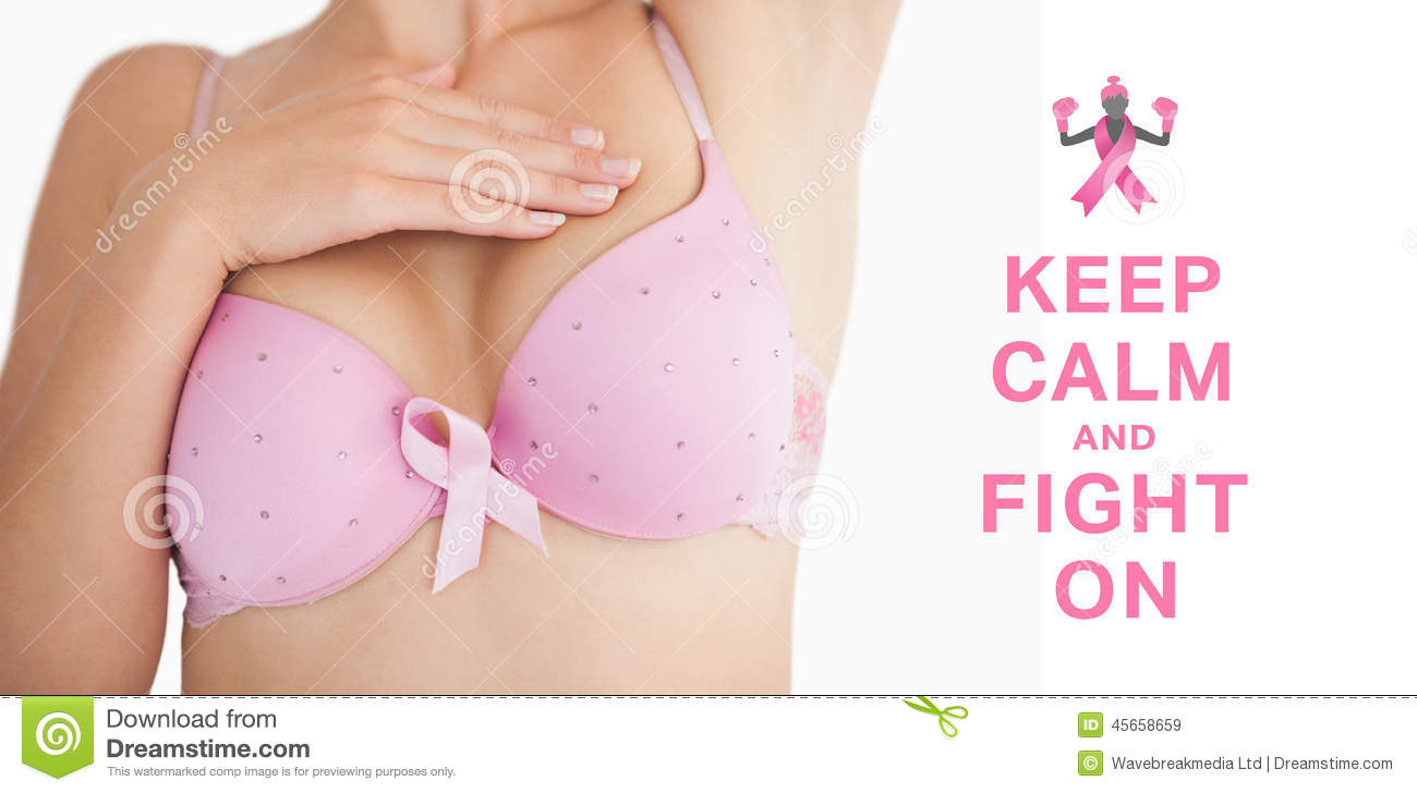 Composite Image Of Woman In Bra With Breast Cancer ...