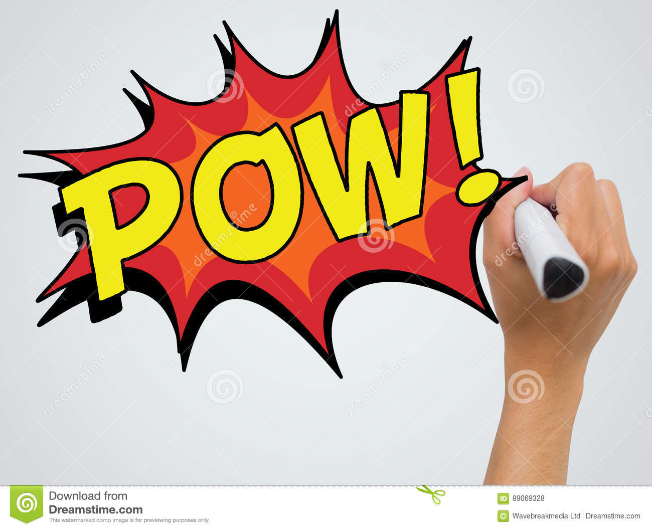 Composite image of the word pow