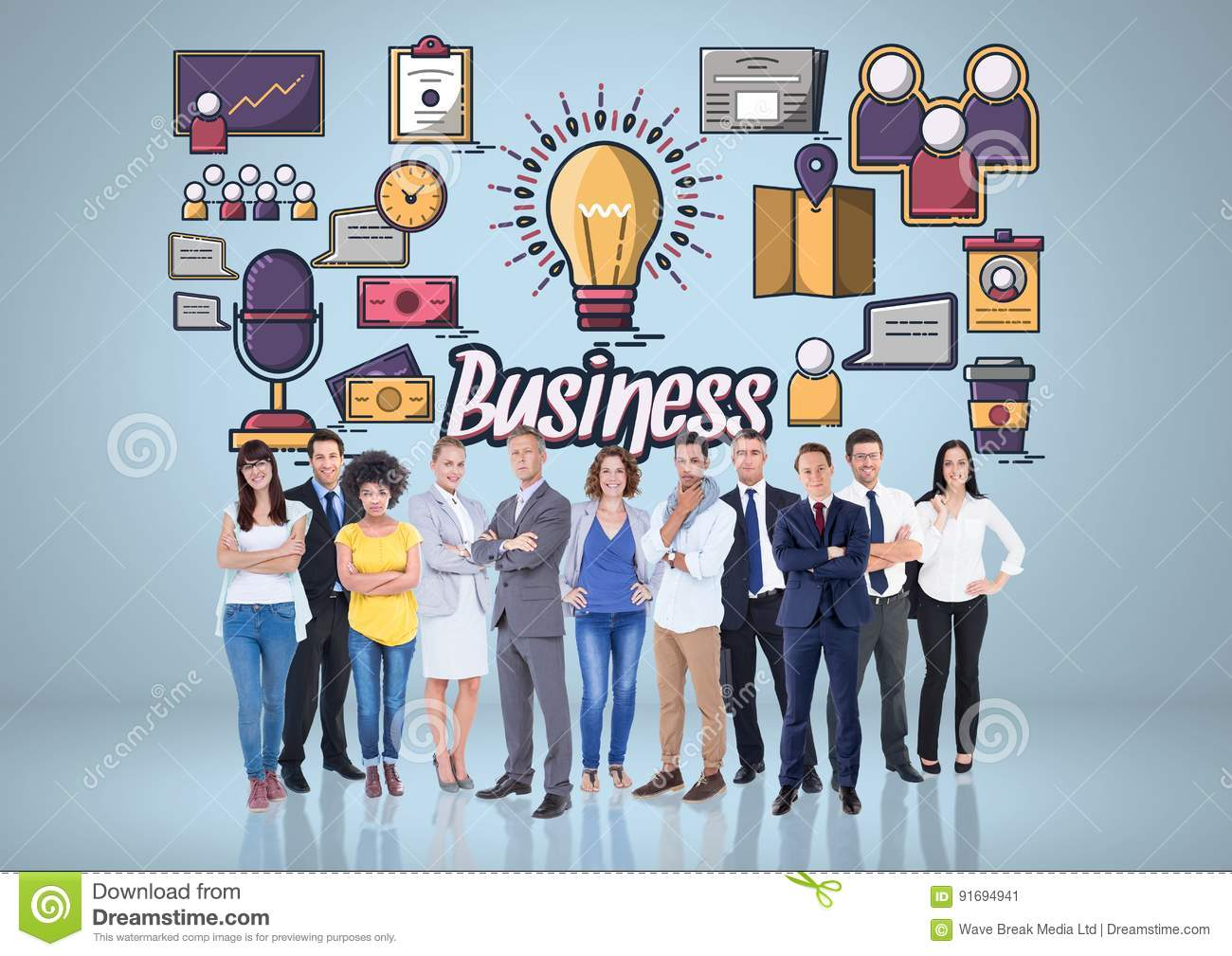 Composite image of worker group against business items