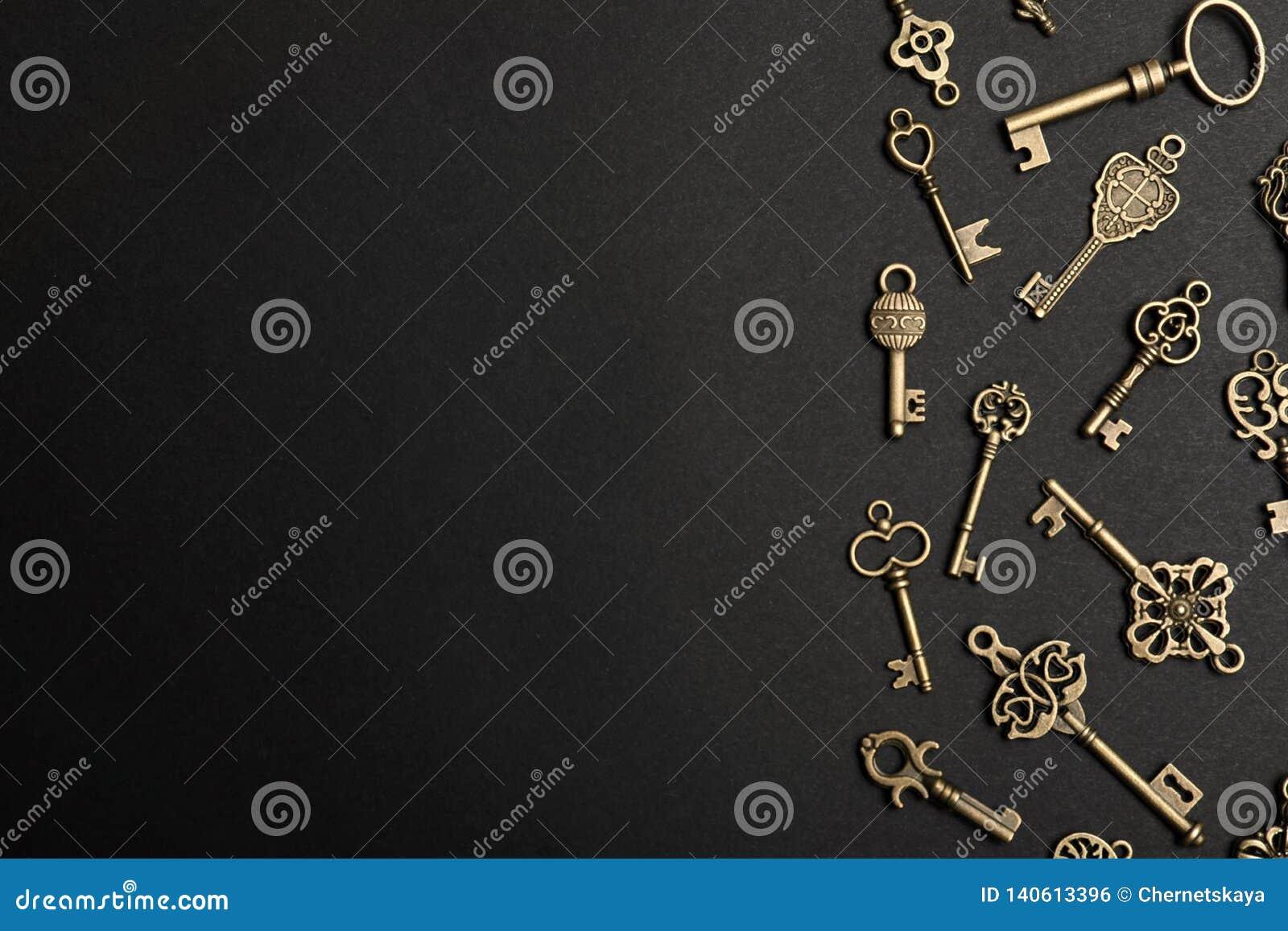 Composition étendue plate avec des clés fleuries de cru en bronze sur le fond foncé