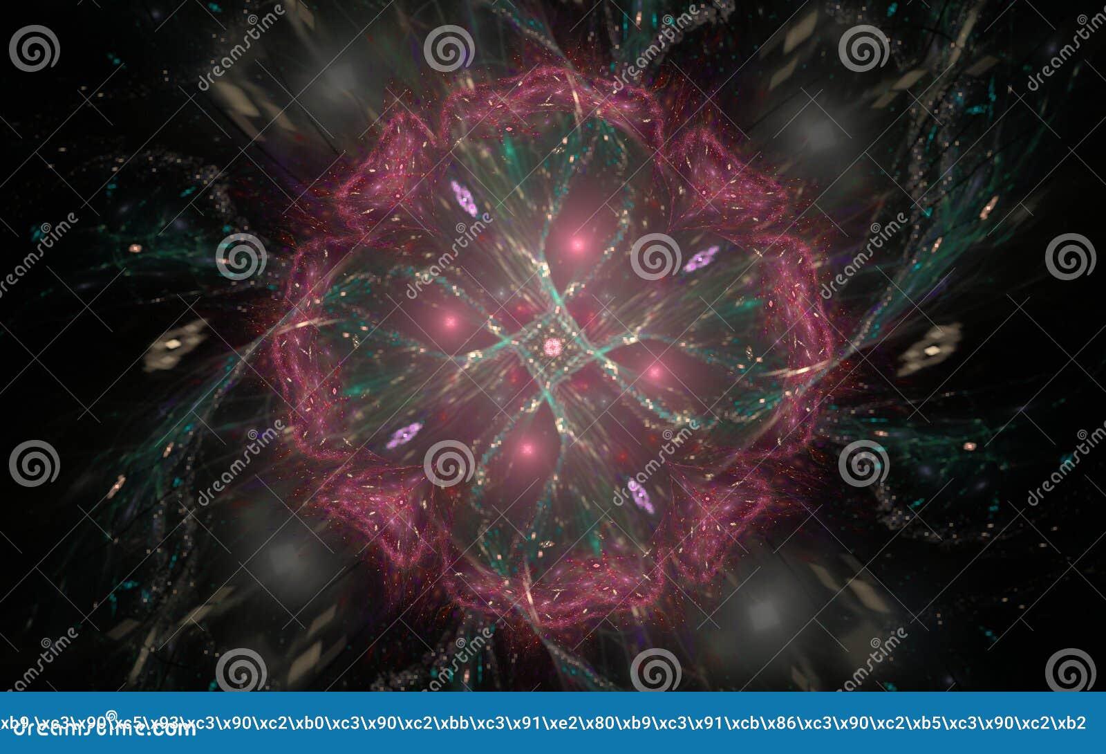 Composition Abstraite D Une Fleur Rouge Avec Un Vert Rougeoyant
