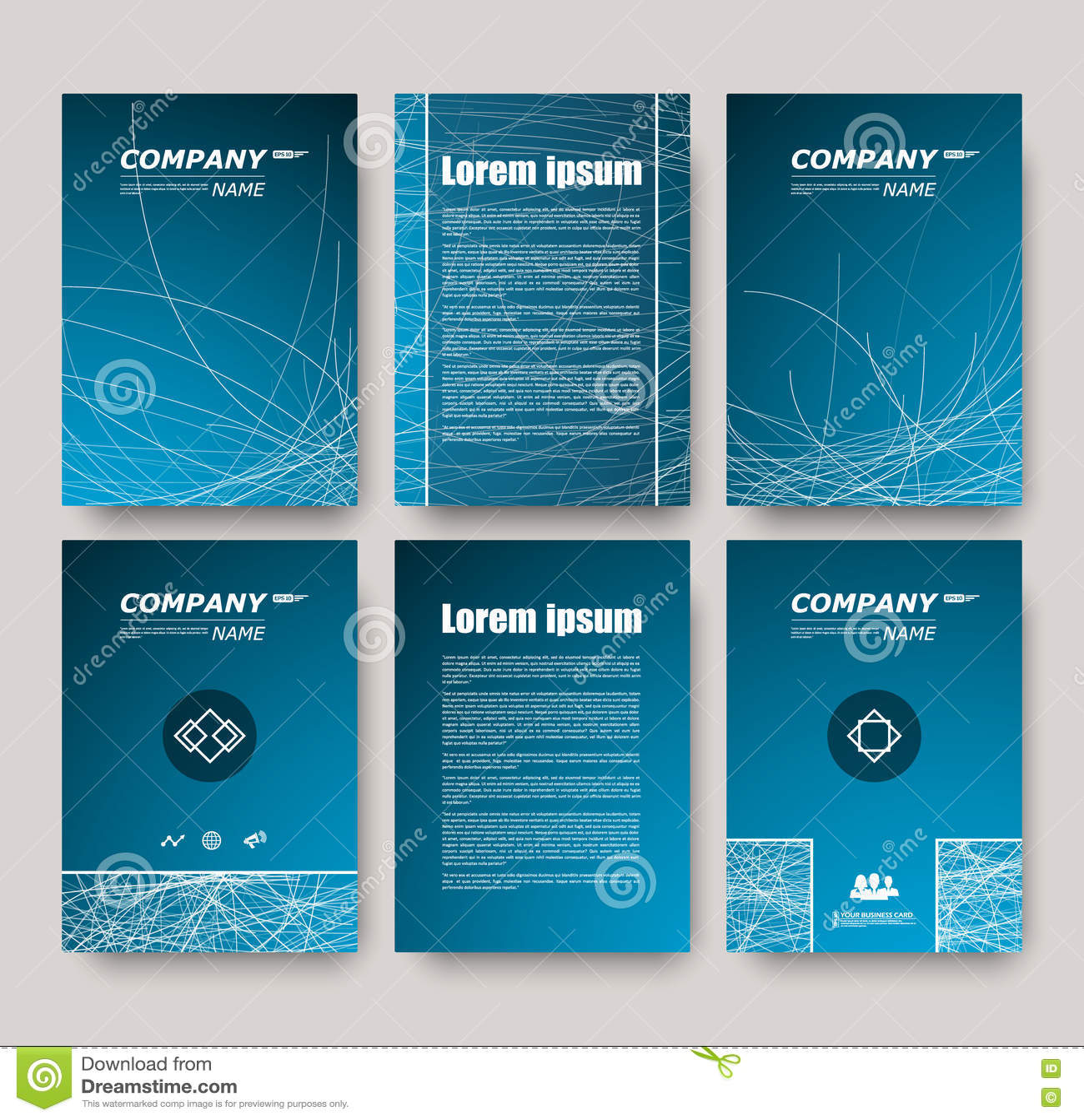 Composition Abstraite Ensemble De Carte Visite Professionnelle Collection Lettre Correspondance Feuille Titre Brochure