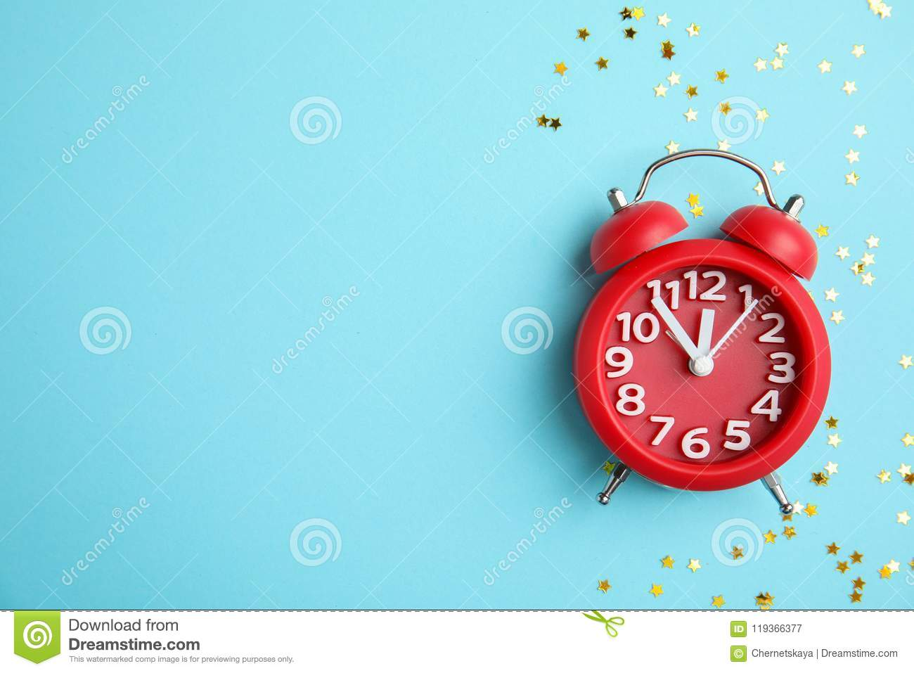 download composition with alarm clock and confetti on color background christmas countdown stock image