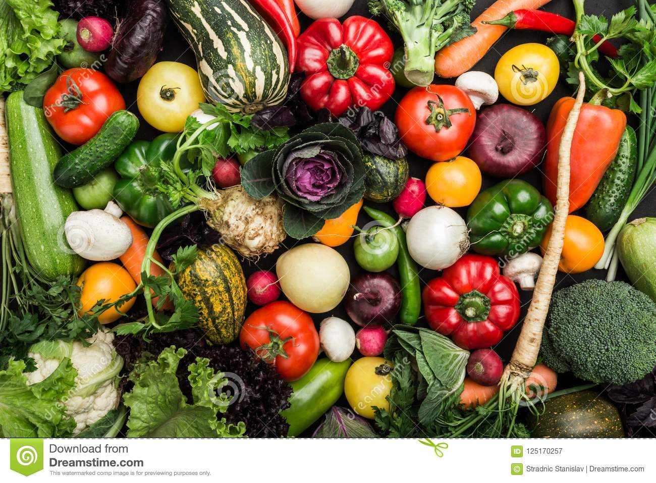 Composition with assorted raw vegetables, healthy food background