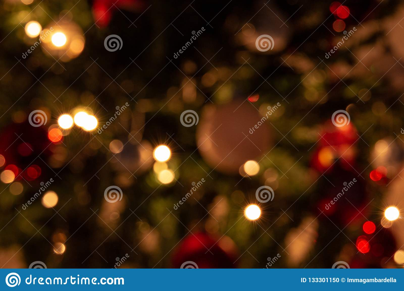 Composition of Christmas with decoration of Christmas tree in a atmosphere of Christmas
