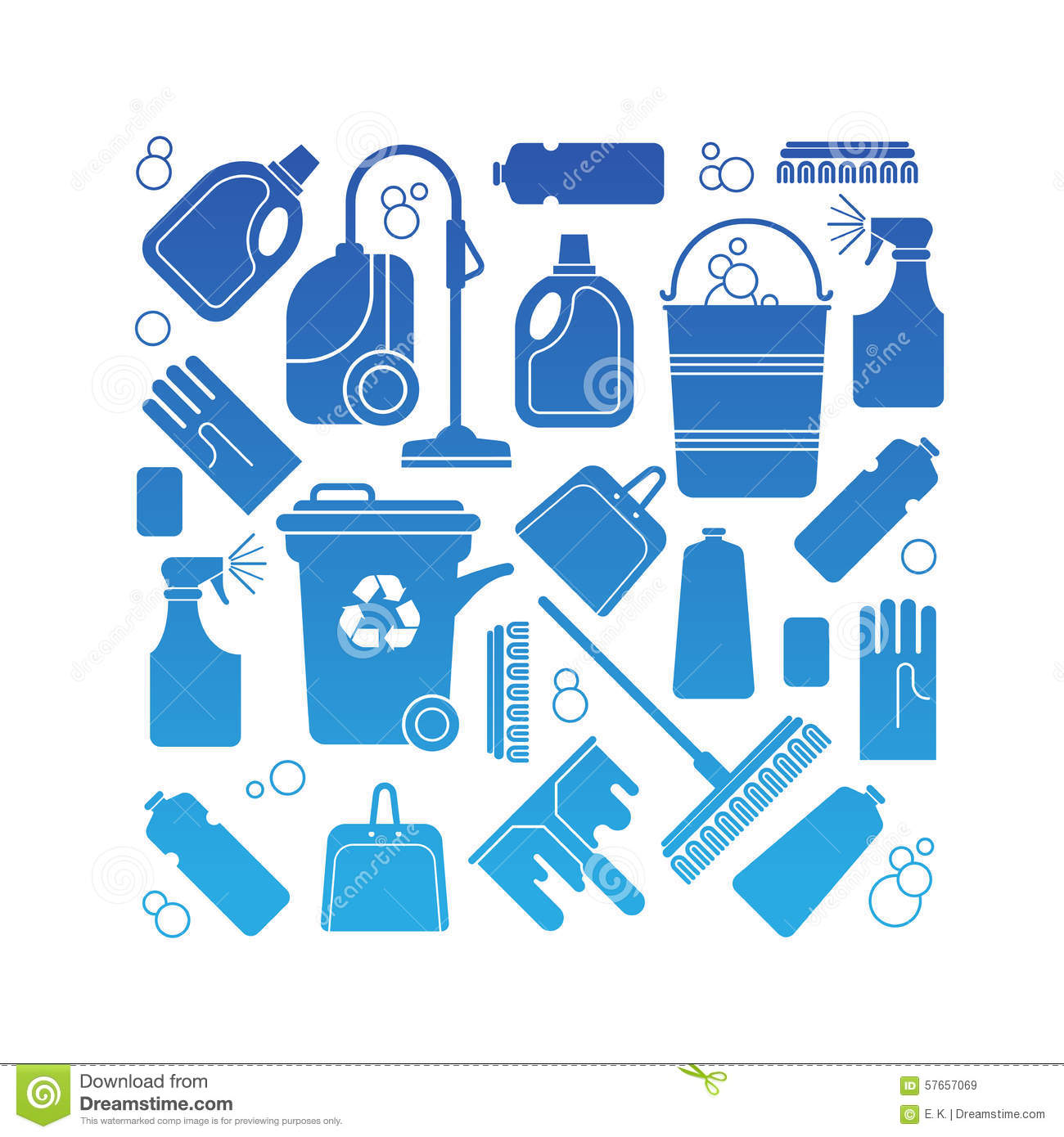 Composition With Cleaning Symbols Stock Vector Illustration Of