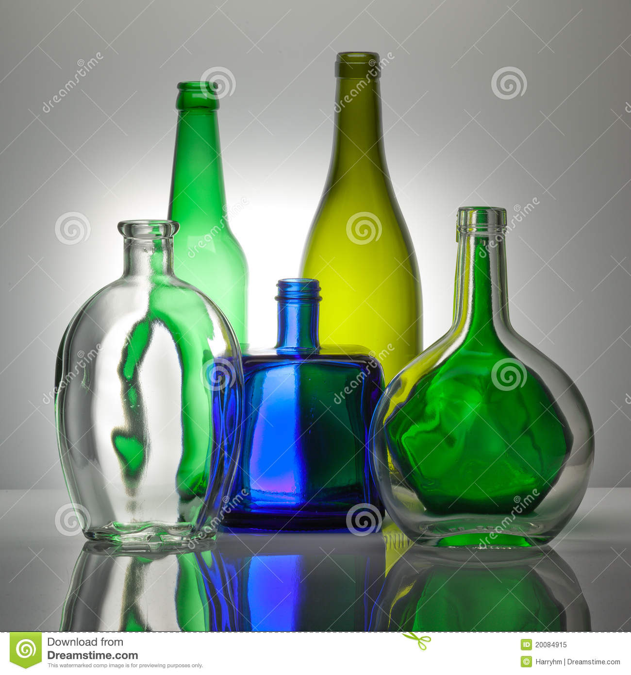 Composition From Color Glass Bottles Stock Image - Image of ...