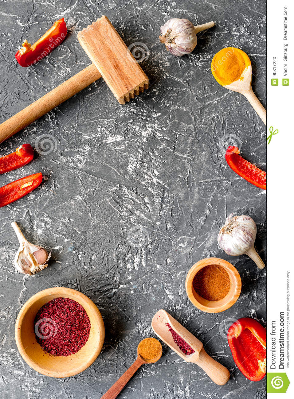 Kitchen table top view - Composition Of Cooking Tools And Spices On Kitchen Table Top View Mock Up
