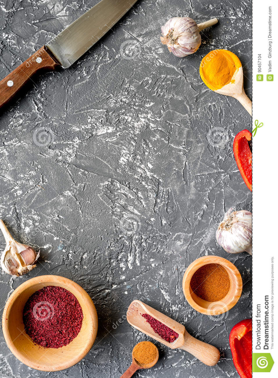 Kitchen table top view - Composition Of Cooking Tools And Spices On Kitchen Table Top View Mock Up Stock Photo