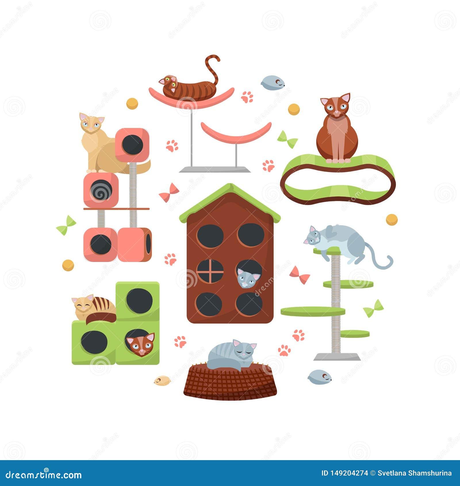 Composition de cercle des chats et de leurs maisons sur le fond blanc Équipement félin différent, arbre de chat de meubles avec l