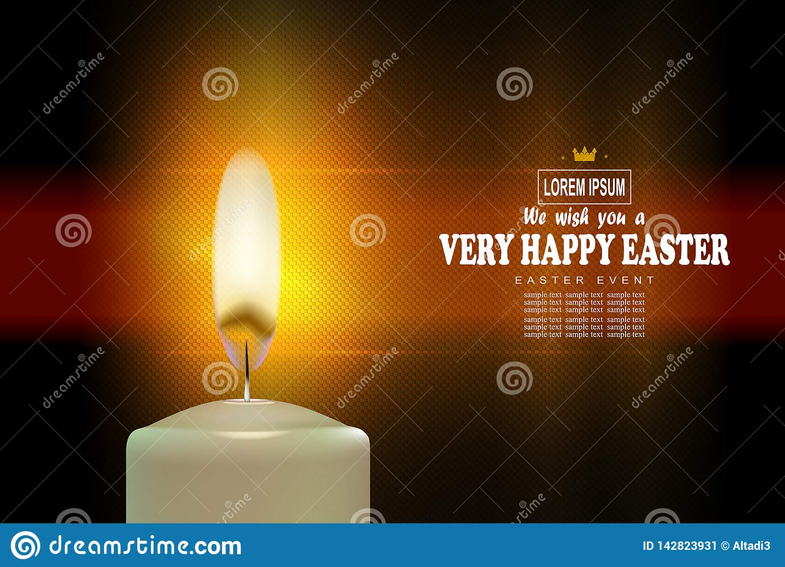 Composition de texture exquise en Pâques avec une bougie brûlante lumineuse,