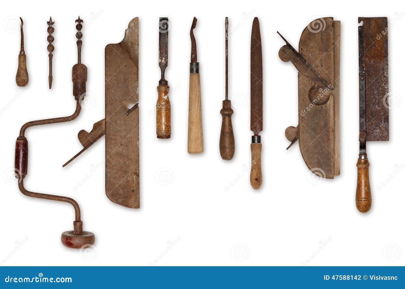 Composition De Vieux Outils Pour Le Bois Photo stock  ~ Outils Pour Le Bois