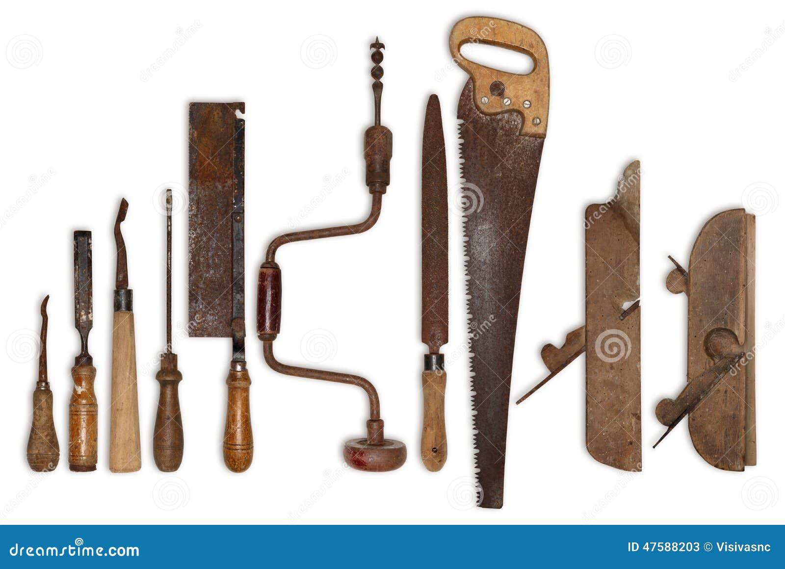 Composition de vieux outils pour le bois photo stock image 47588203 - Outil pour couper le bois ...