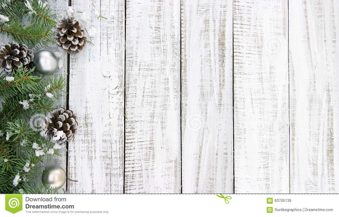 Composition With Decorated Christmas Tree On White Rustic