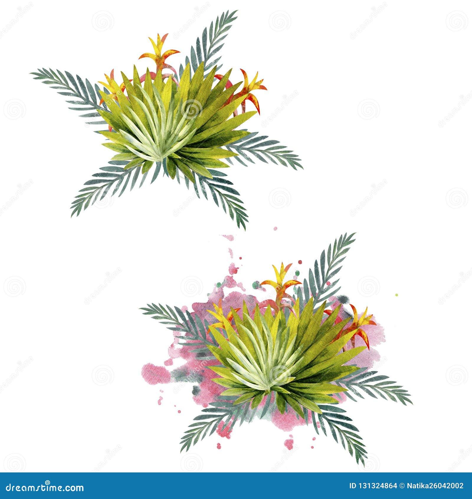 Composition des feuilles tropicales multicolores Pour des invitations, des cartes de voeux et des papiers peints watercolor
