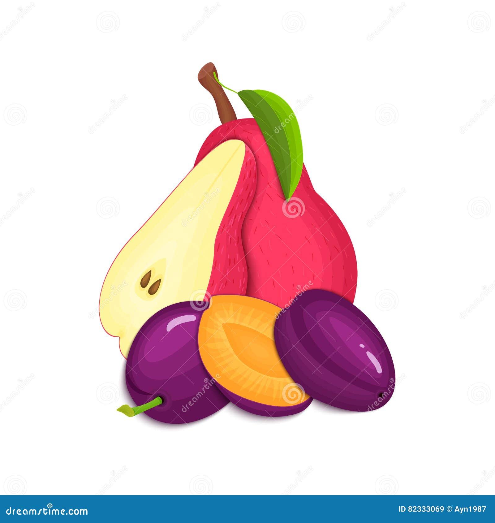 Composition des prunes et des poires juteuses La prune mûre de poire de vecteur porte des fruits regard appétissant de tranche en