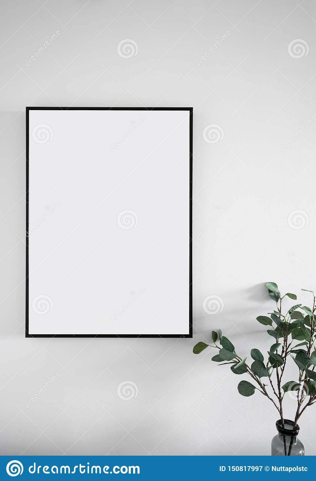Composition of empty black wooden frame install on white painted wall with artificial plant on the corner / interior design / isol