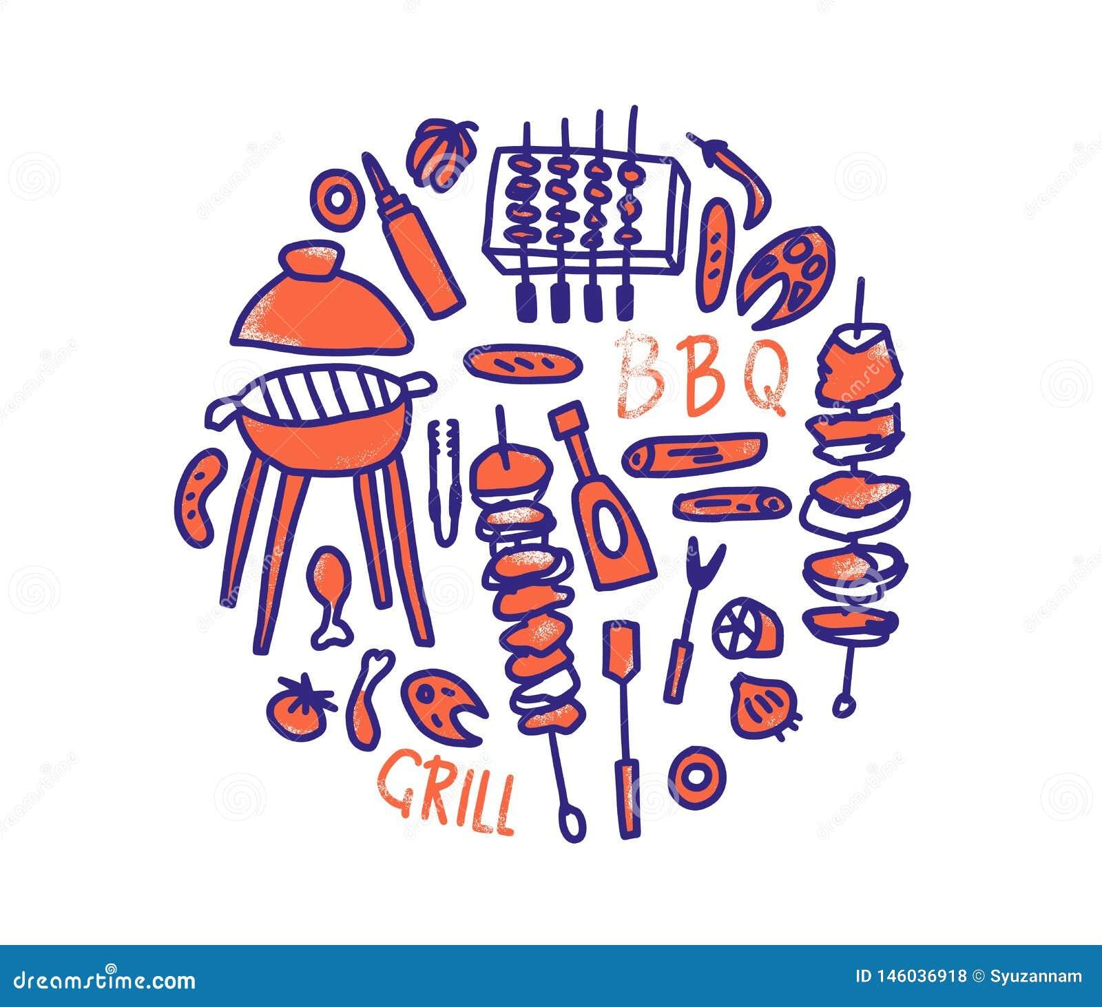 Composition en barbecue avec le texte Conception de vecteur
