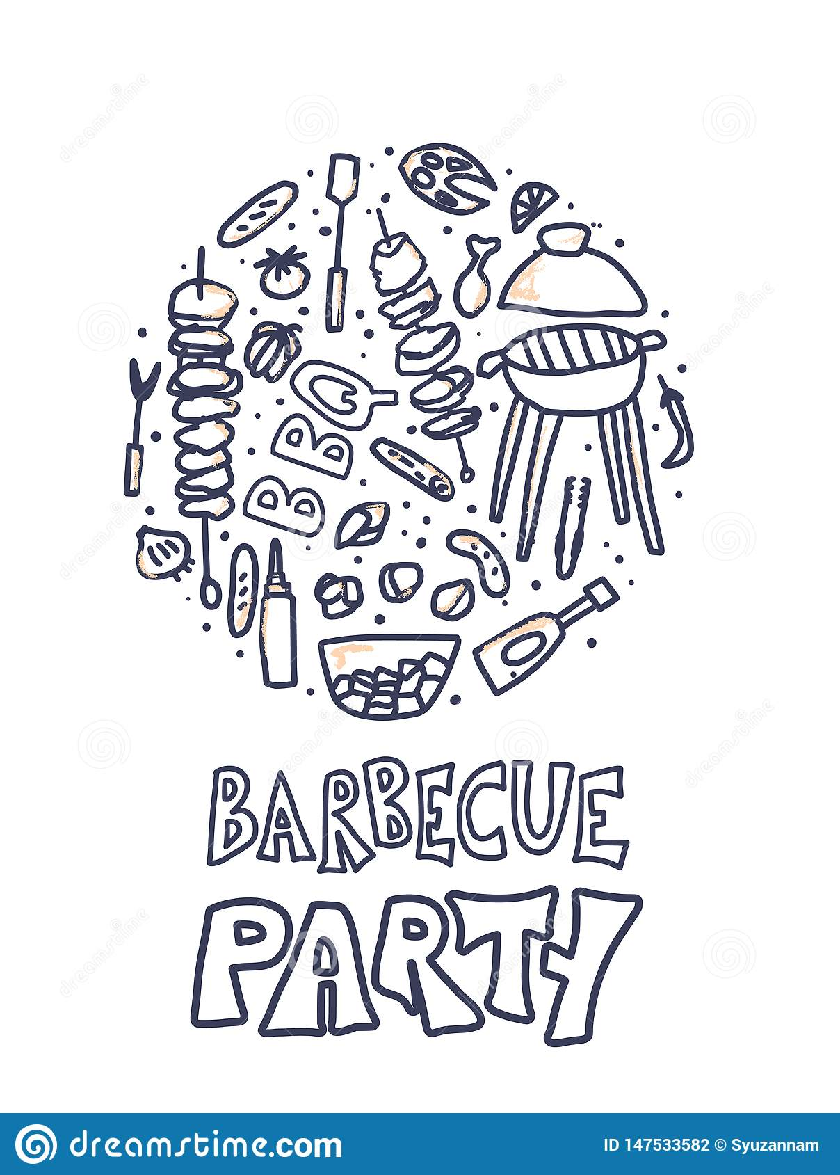 Composition en barbecue Conception de vecteur