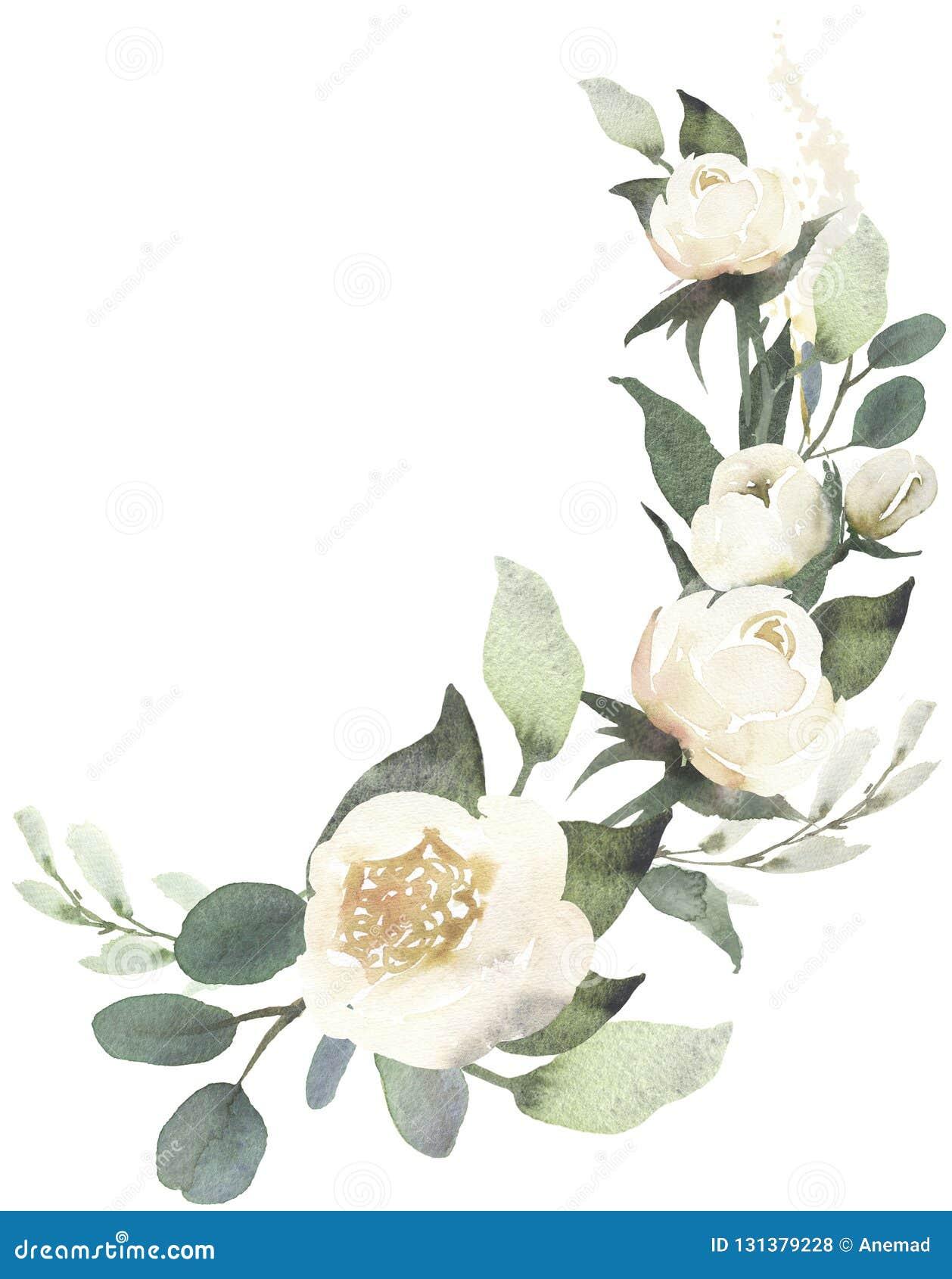 Composition en bouquet floral de mariage d aquarelle avec les roses blanches a