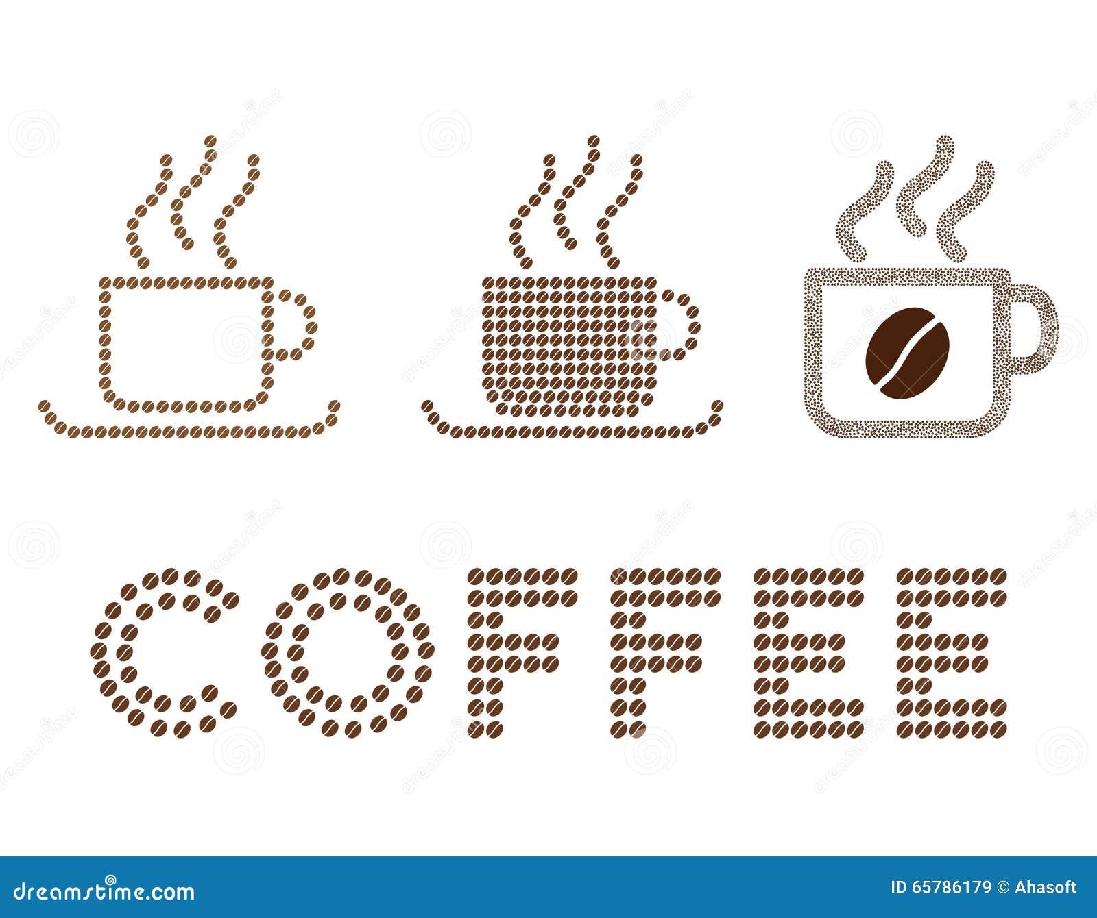 Composition en glyph de tasses de café avec des grains de café
