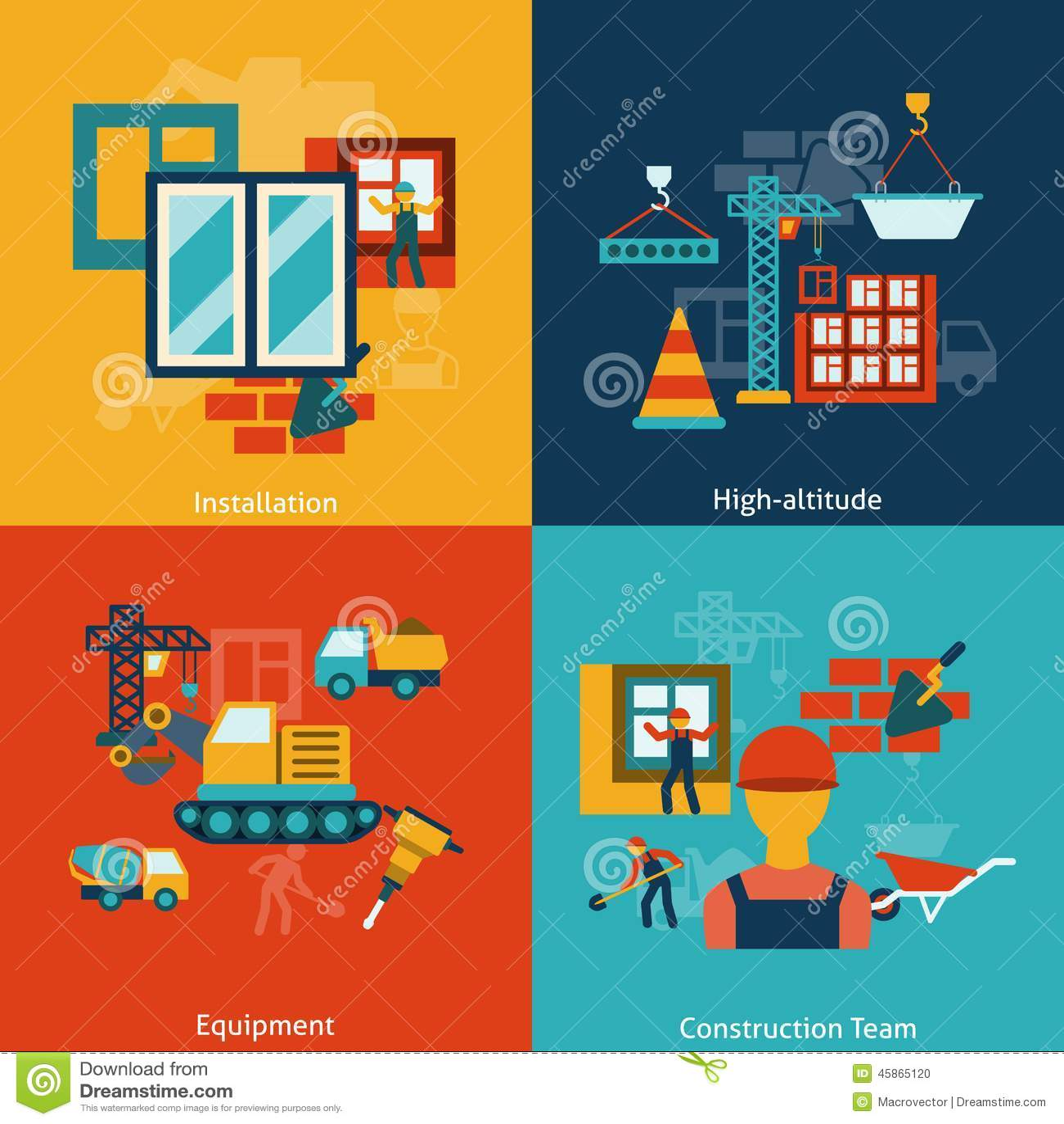 Composition en icônes de construction plate