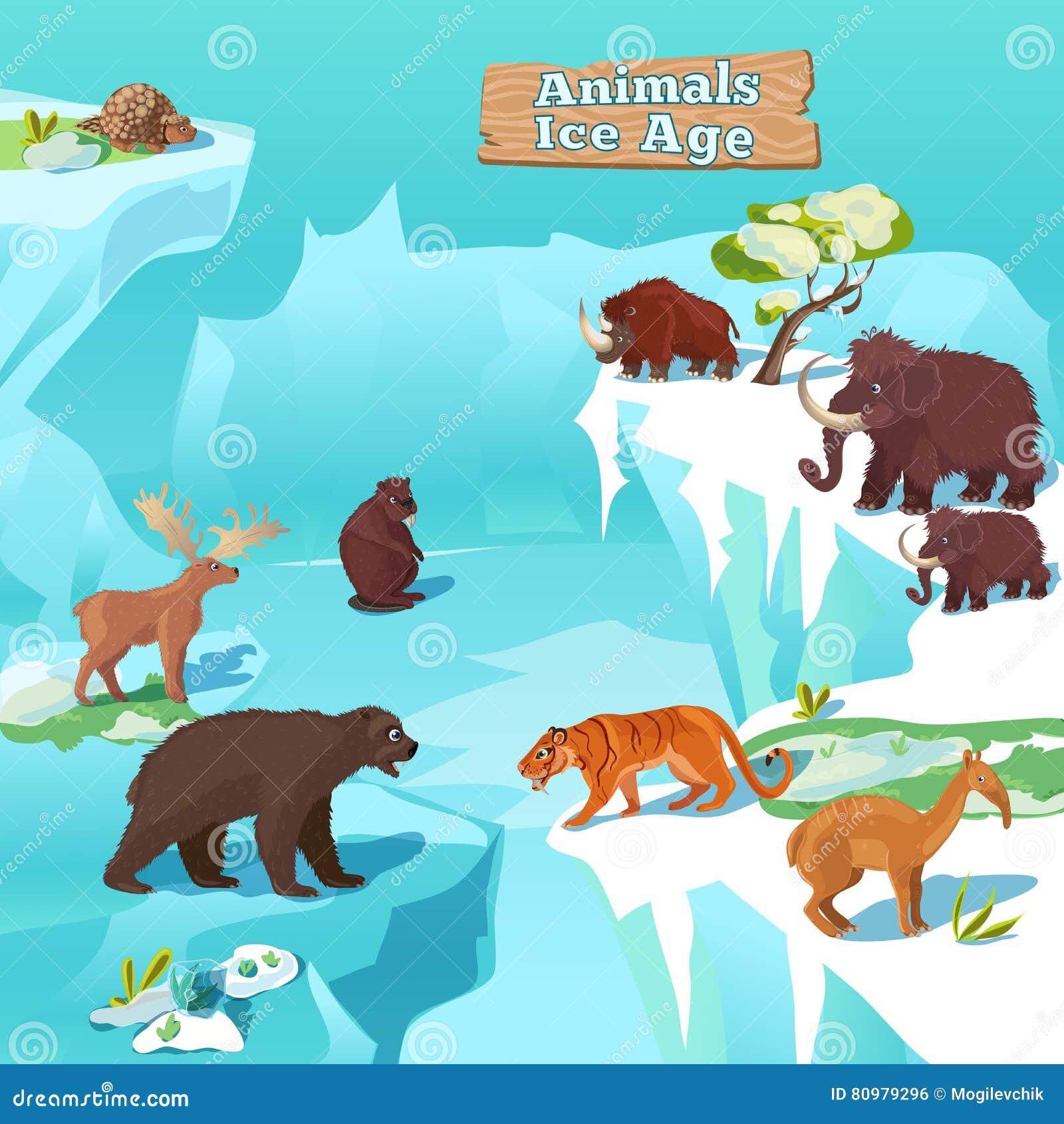 Composition en période glaciaire d animaux