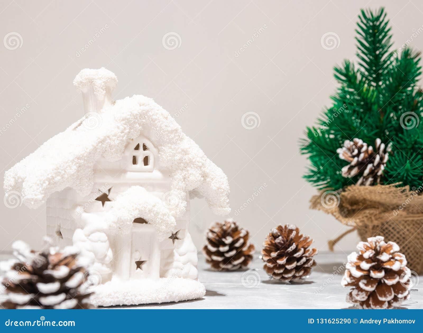 Arbre Bois Blanc Decoration composition en vacances d'art christmas sur le fond en bois