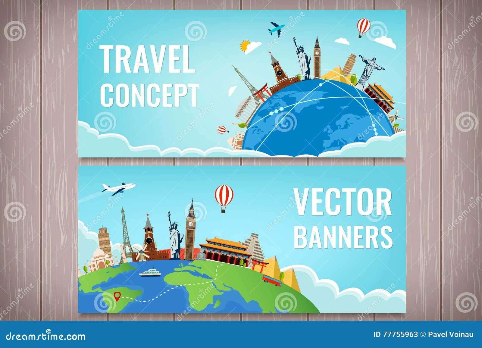Composition en voyage avec les points de repère célèbres du monde Voyage et tourisme Calibre de site Web de concept Vecteur Conce