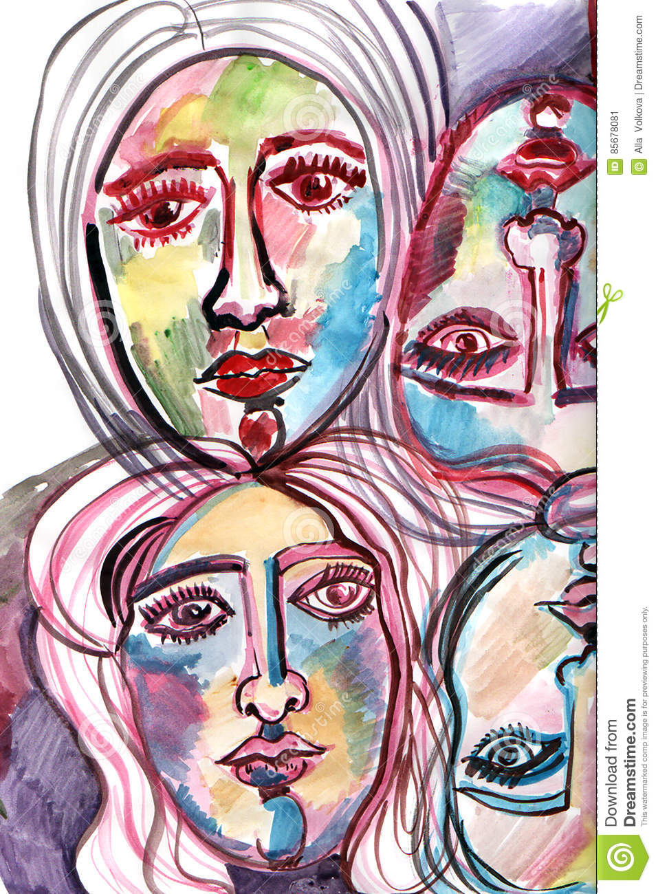 download composition with faces painted in watercolor stock illustration illustration of painted pattern