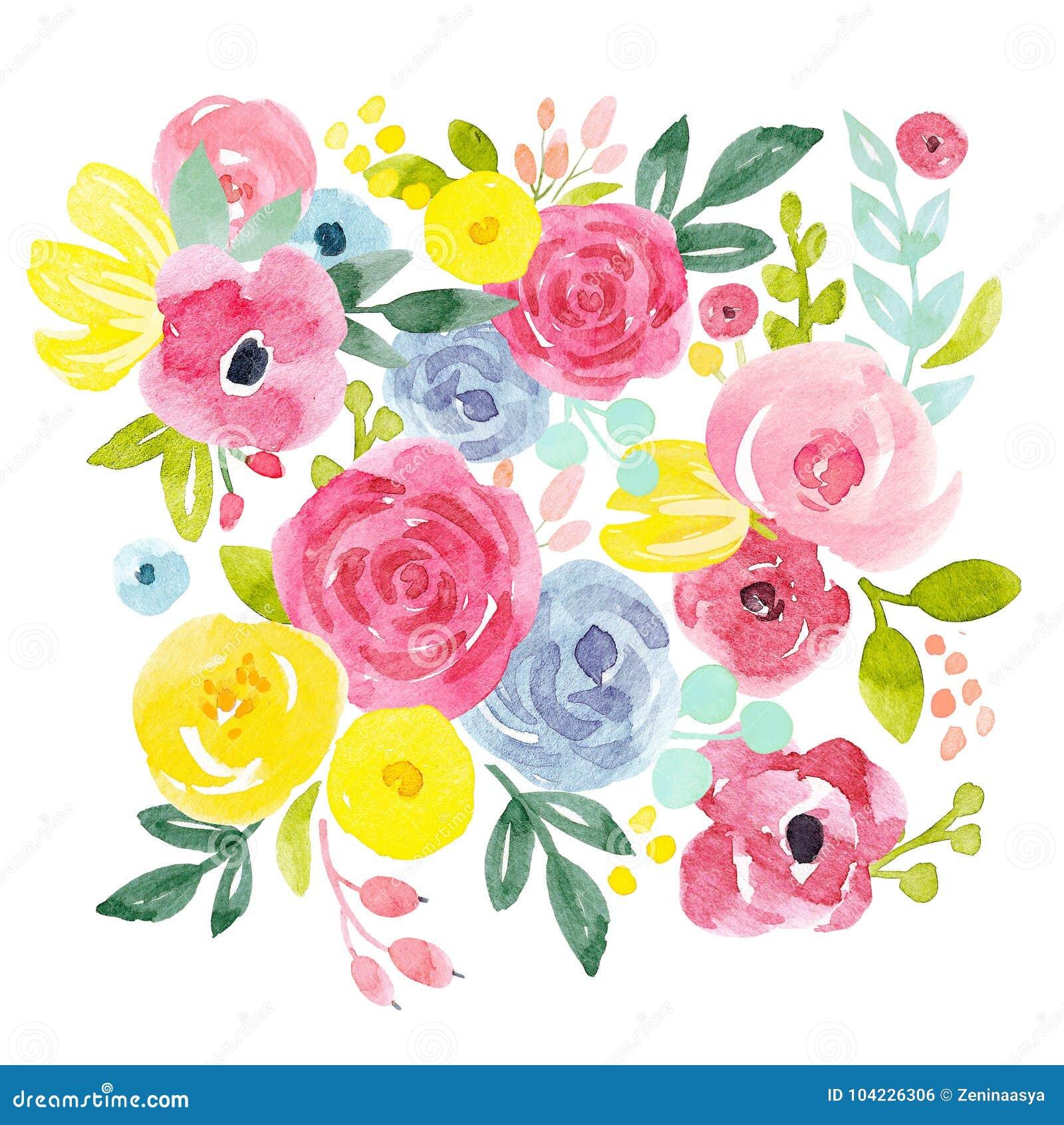 Composition florale abstraite en aquarelle