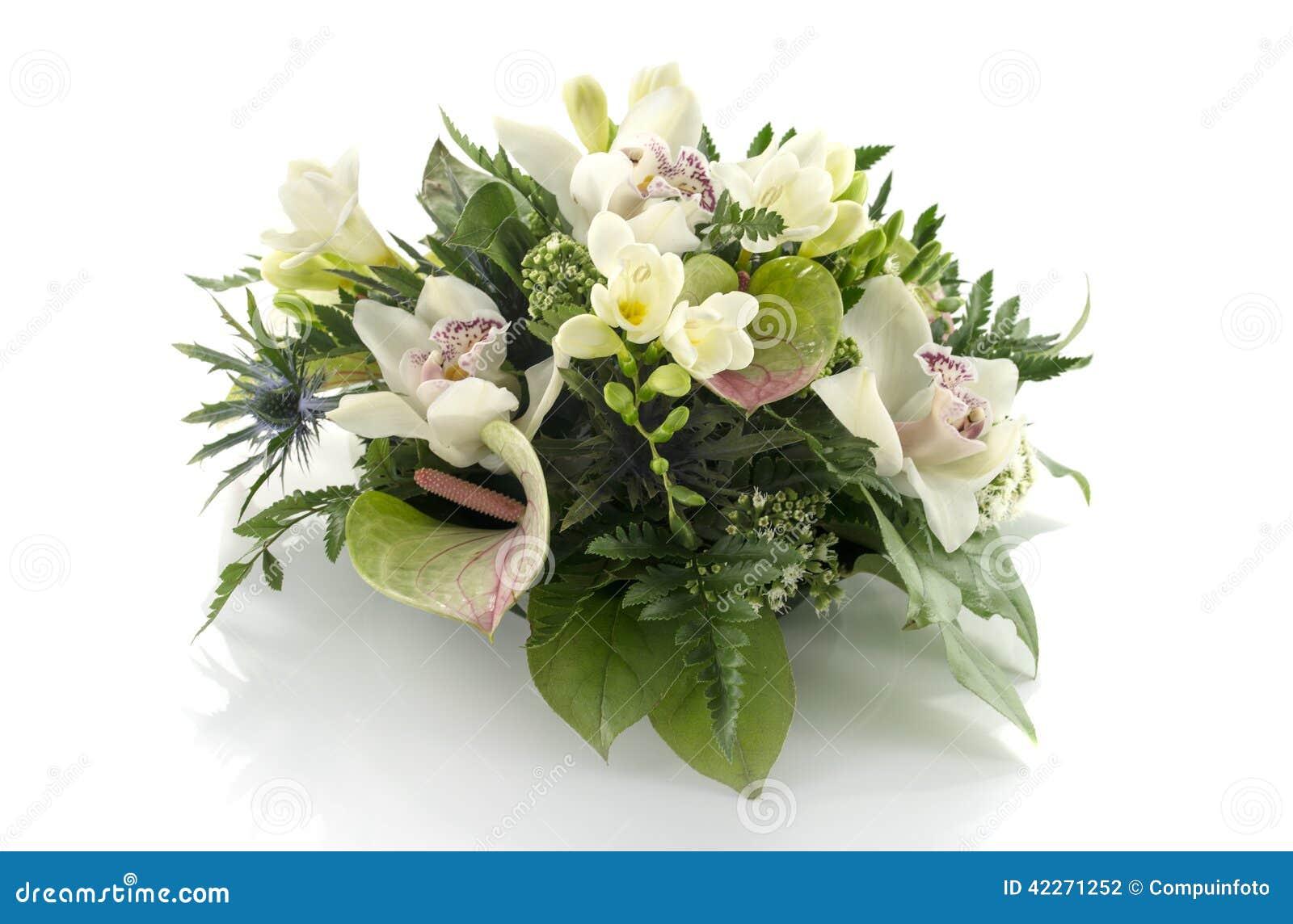 Composition Florale Avec Le Freesia De Lilys Photo stock