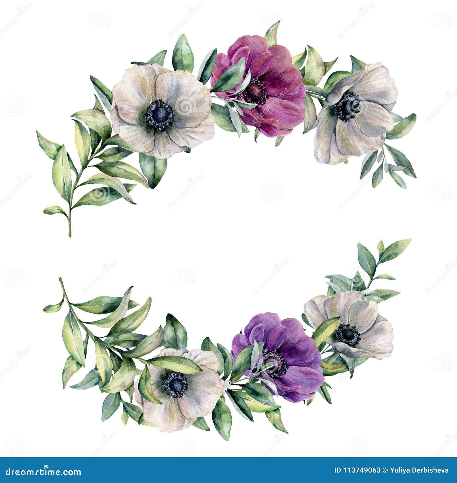 Composition florale en aquarelle avec l anémone colorée Fleurs peintes à la main et feuilles blanches, violettes, roses d isoleme