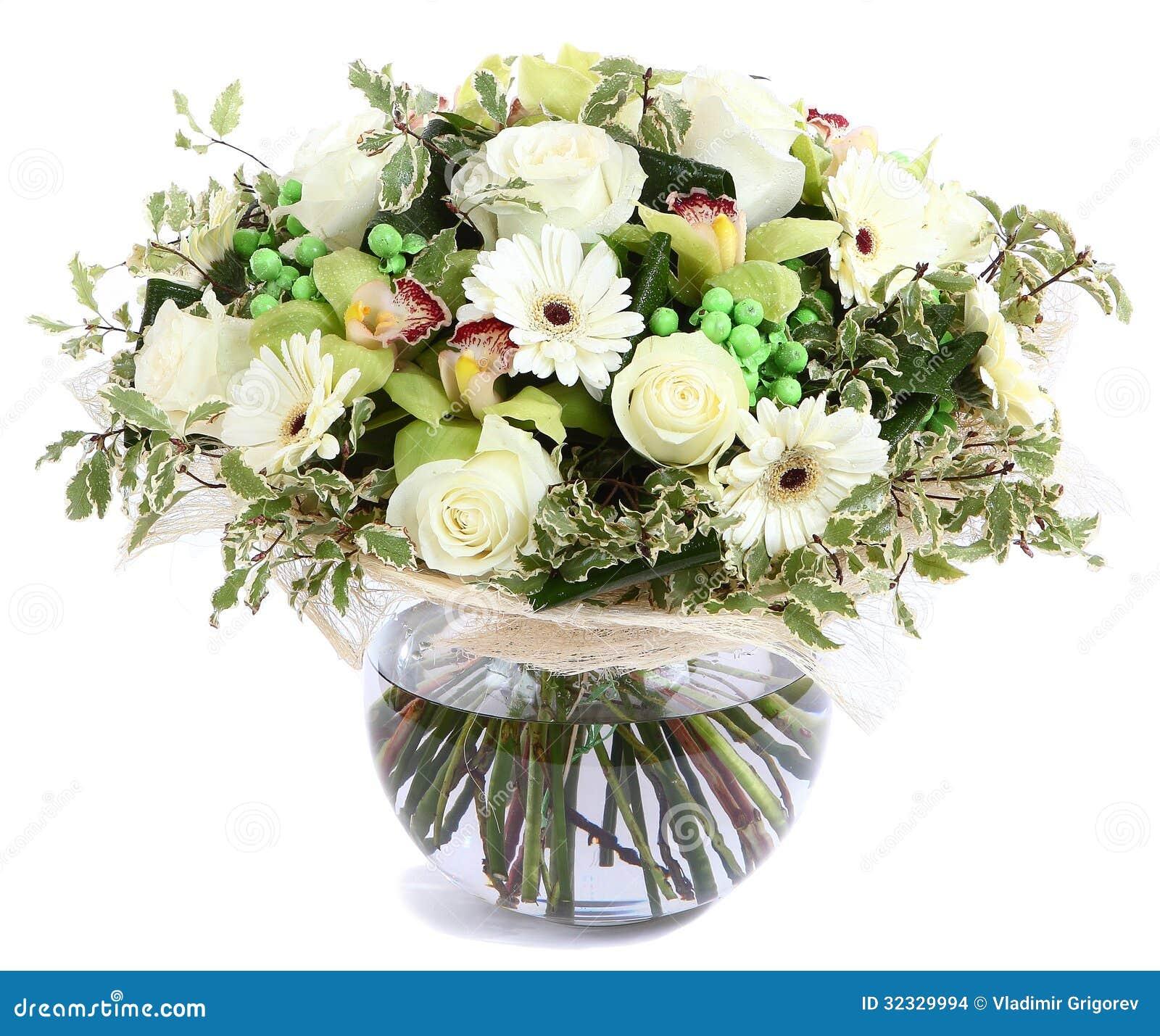 Composition florale en verre vase transparent roses blanches orchid es marguerites blanches - Composition florale vase en verre ...