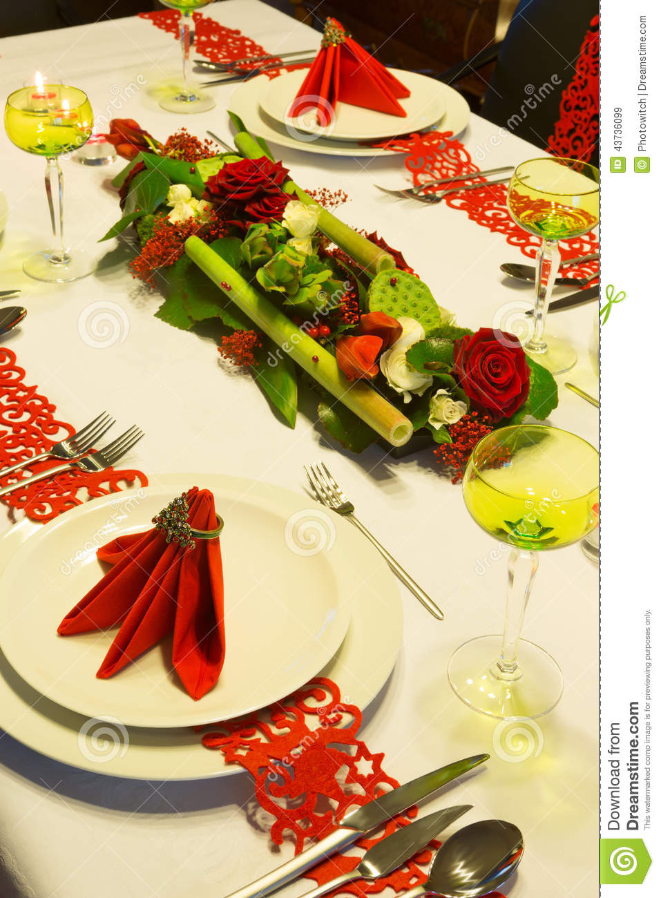 Deco florale table de noel