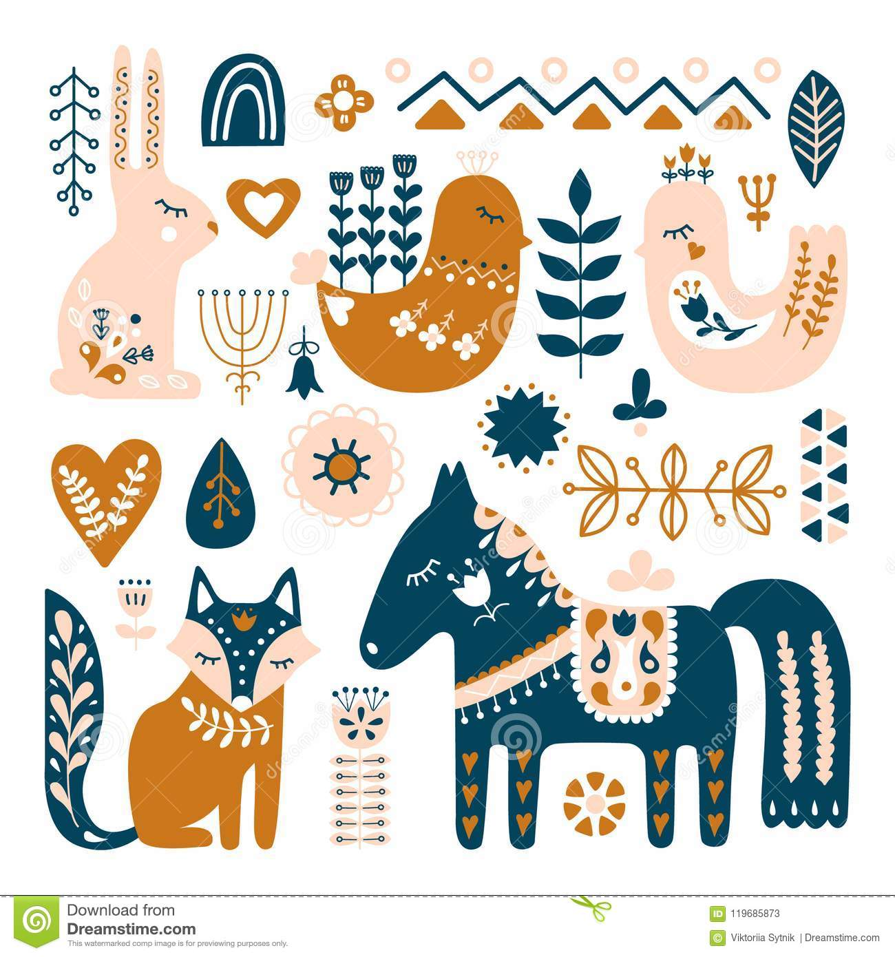 Composition with Folk art animals and decorative elements.