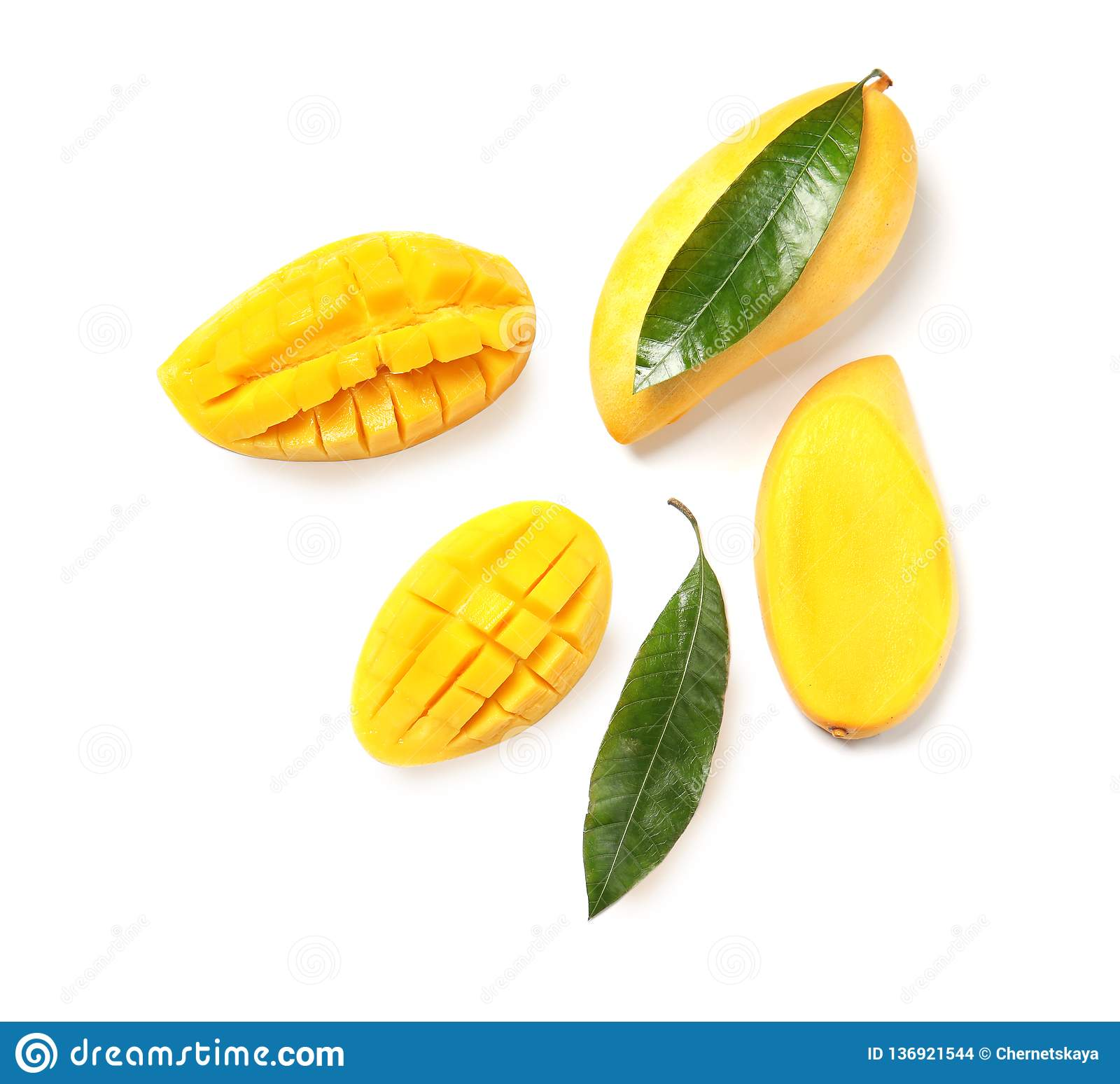 Composition with fresh mango fruits on white, top view