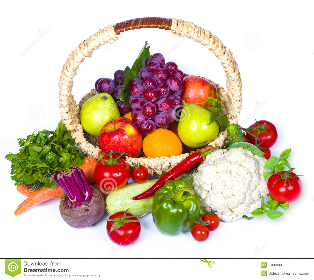 Download Composition Of Fruits And Vegetables In Wicker Basket Stock Image    Image Of Background,