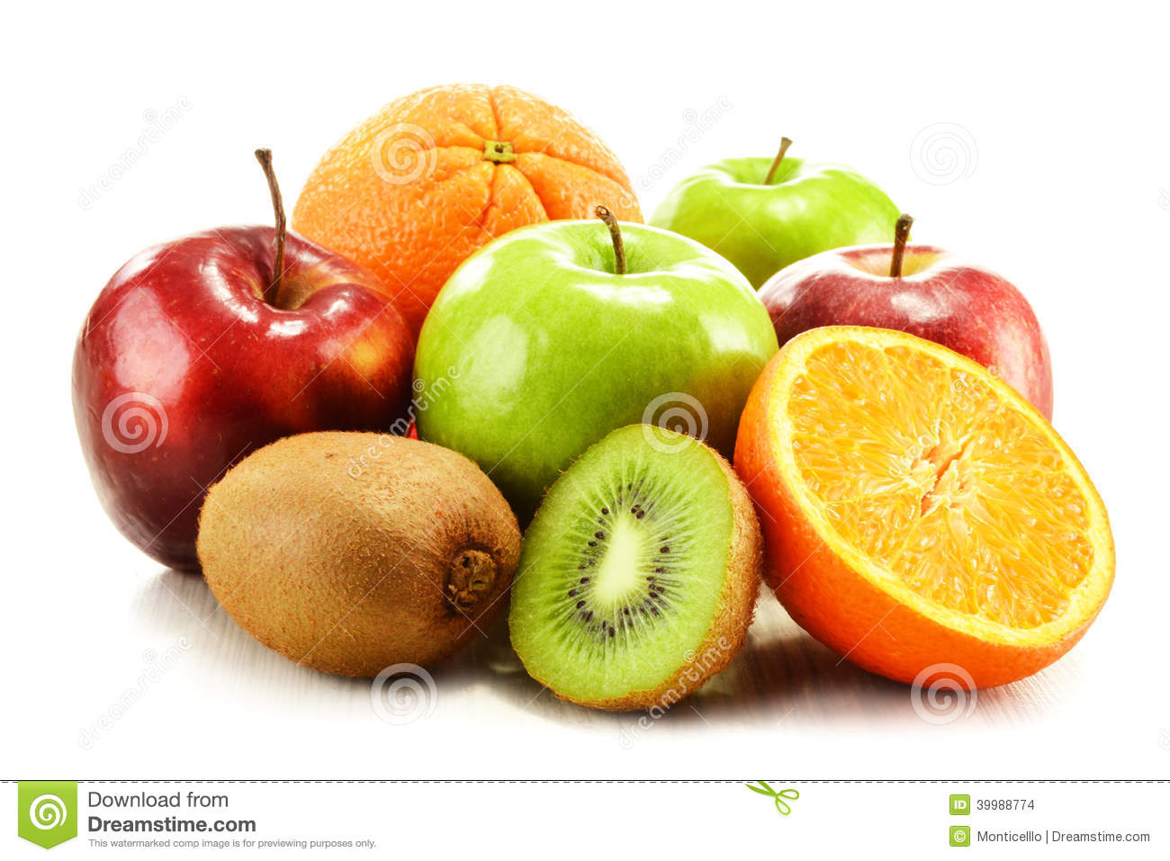 Composition with fruits on white