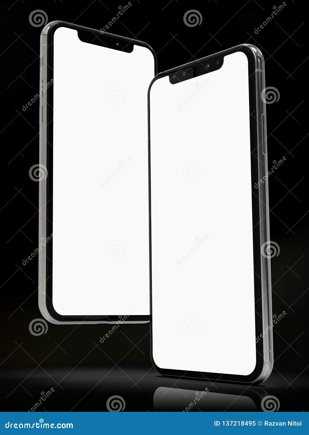 Composition futée en 2 téléphones de l iPhone XS, pour des maquettes