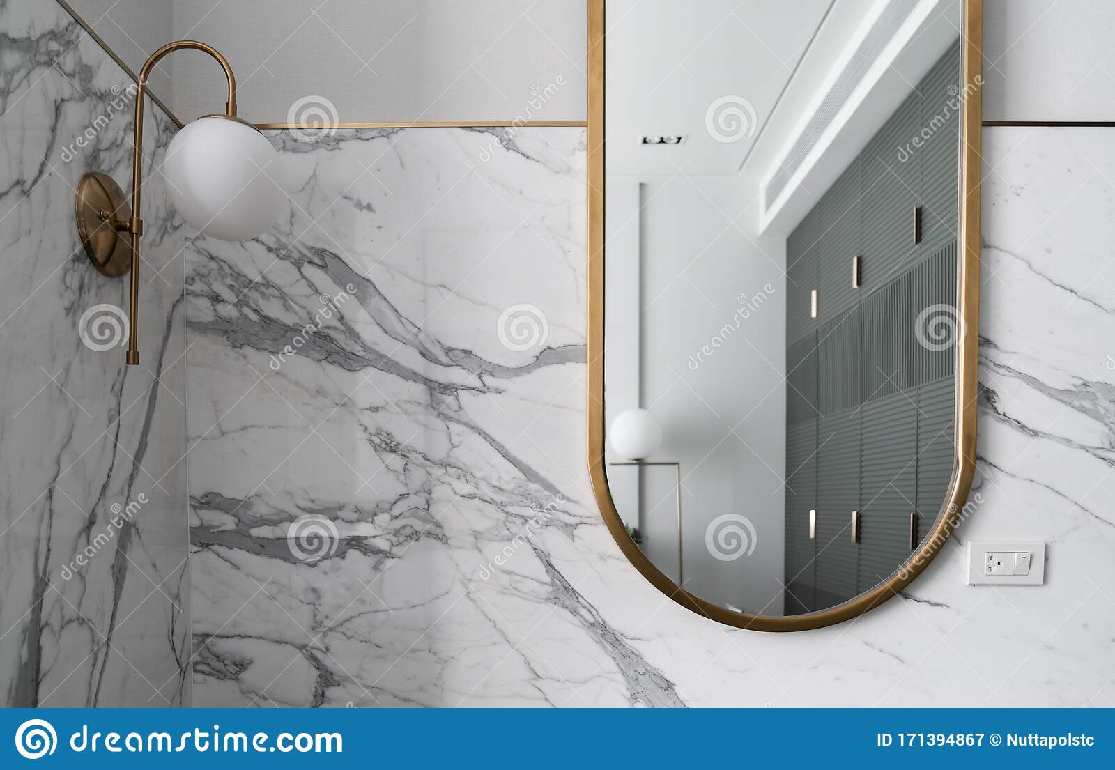 Composition Of Gold Stainless Mirror With White Marble Wall And Gold Wall Lamp Interior Design Background Stock Image Image Of Metal Minimal 171394867