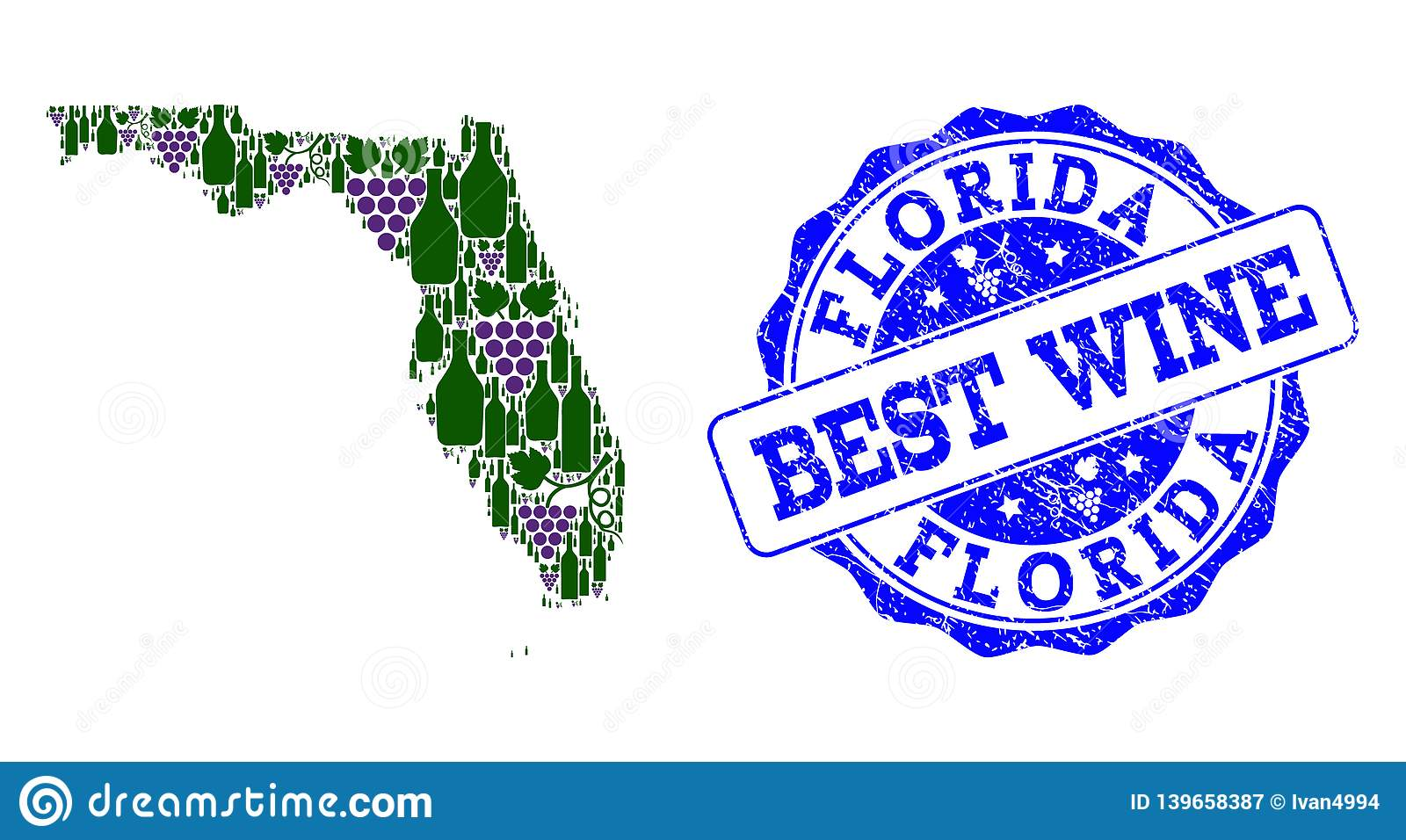 Composition of Grape Wine Map of Florida State and Best Wine Stamp