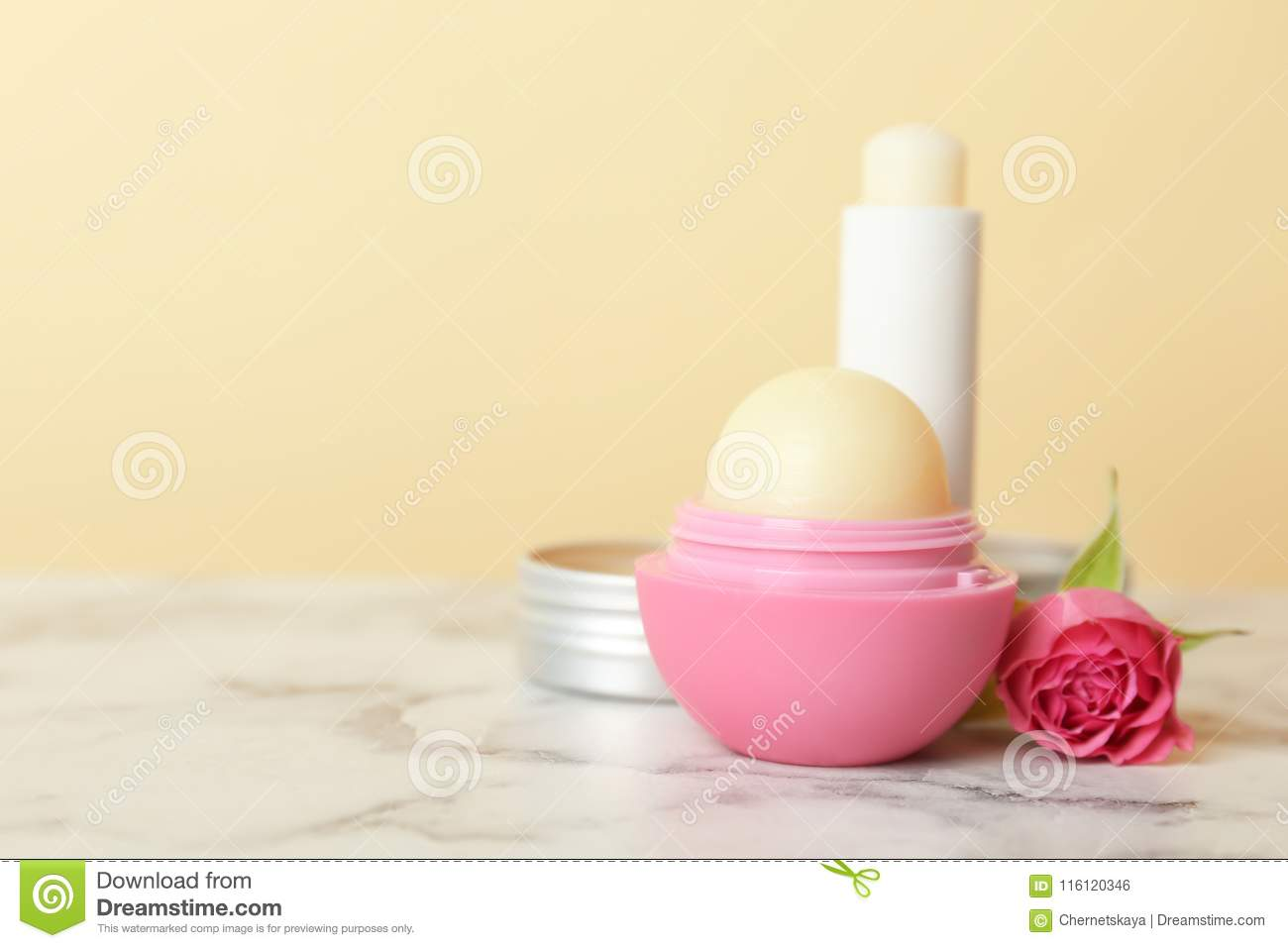 Composition with hygienic lipstick and balms