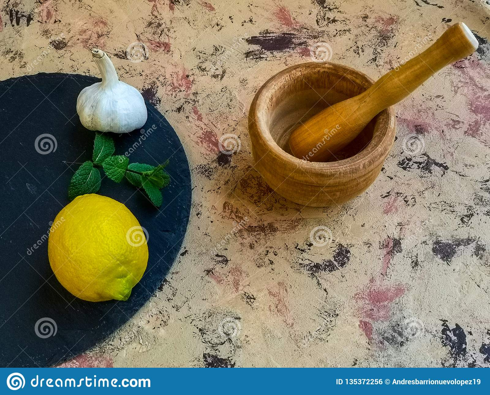 Composition Of Ingredients For Making Mayonnaise With Garlic On Background Pastel Shades