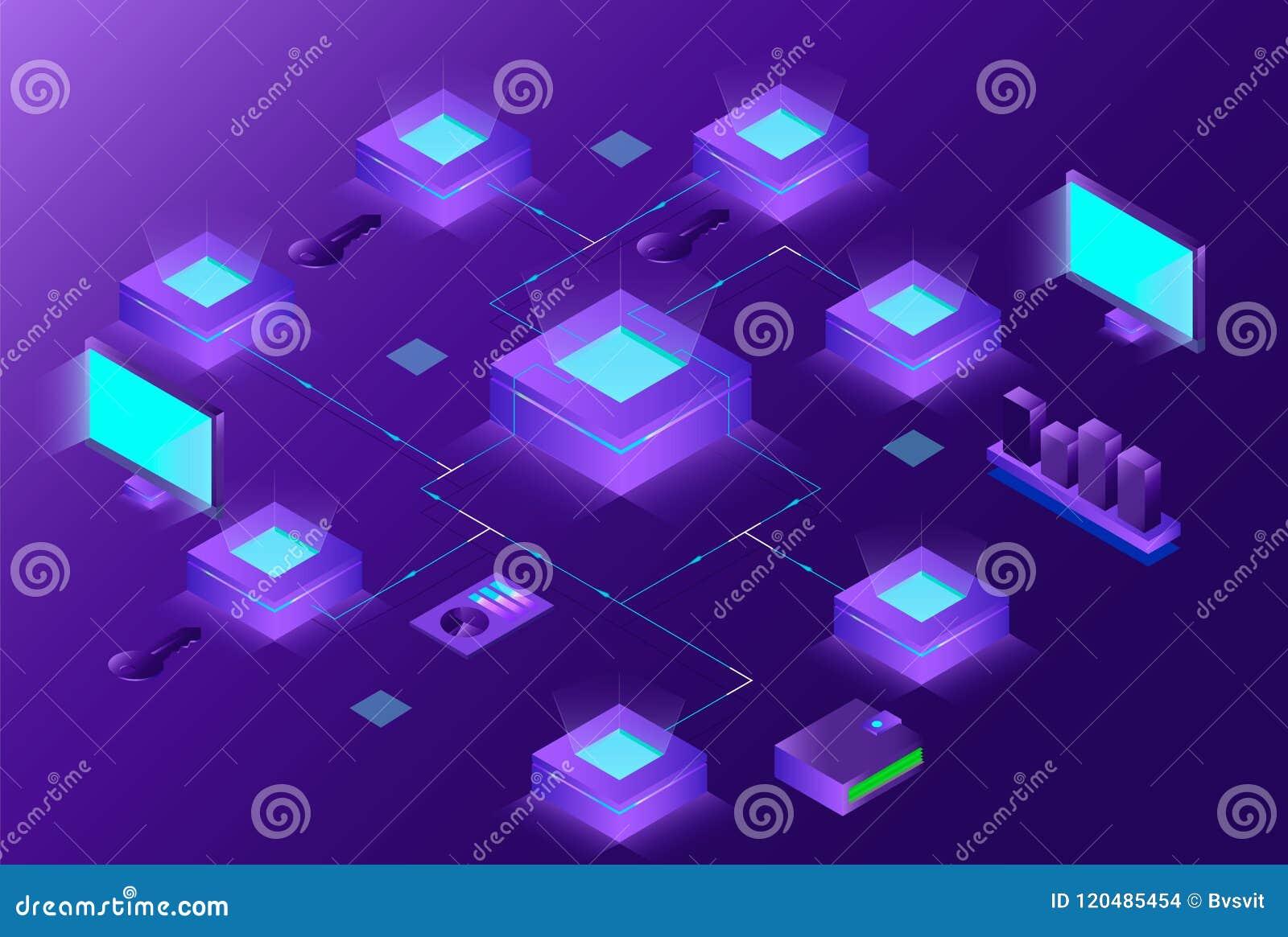 Composition isométrique en Blockchain et en Cryptocurrency avec des personnes commerce électronique, commerce de bitcoin, analyst