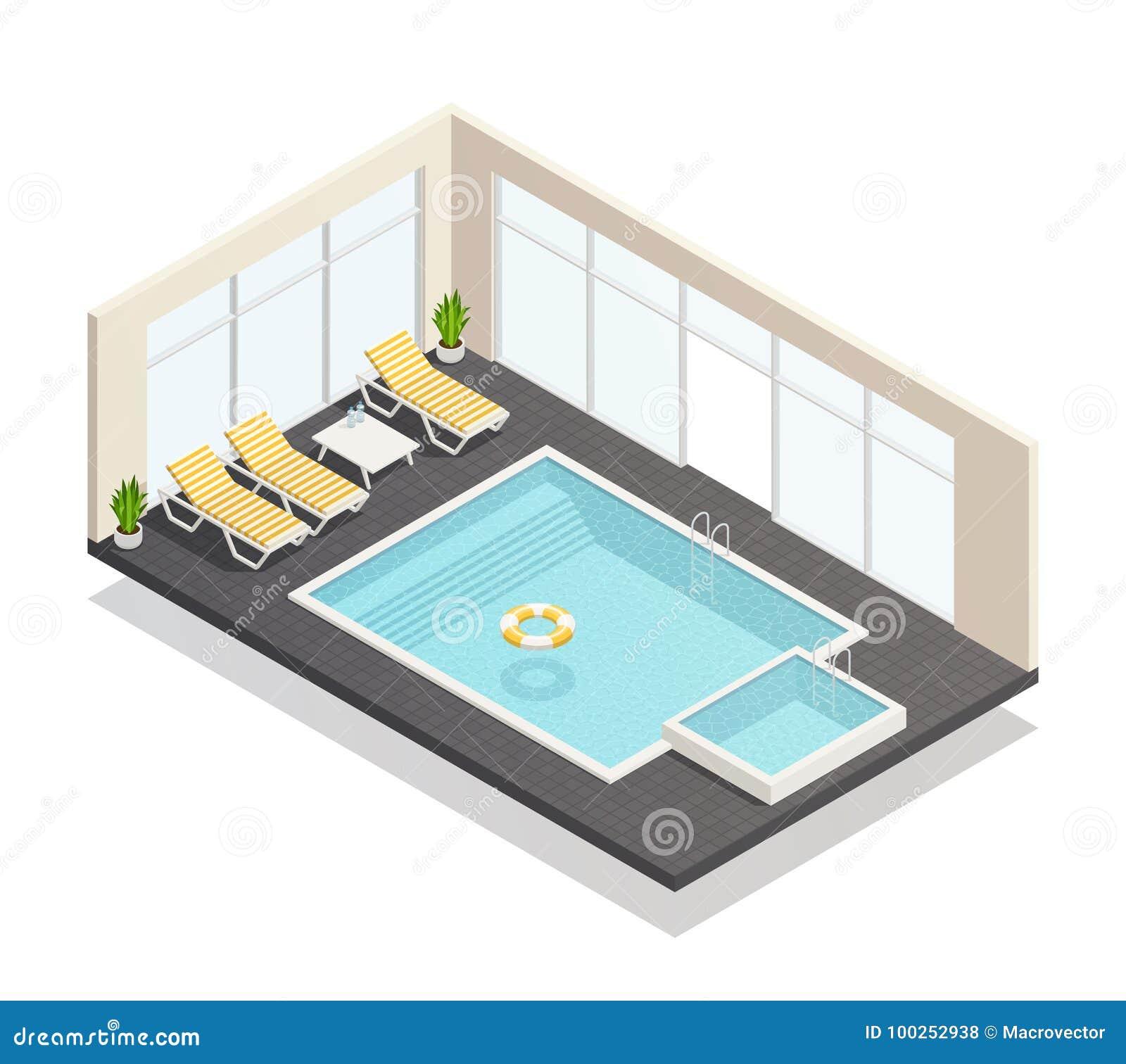 Composition isométrique en piscine de récréation