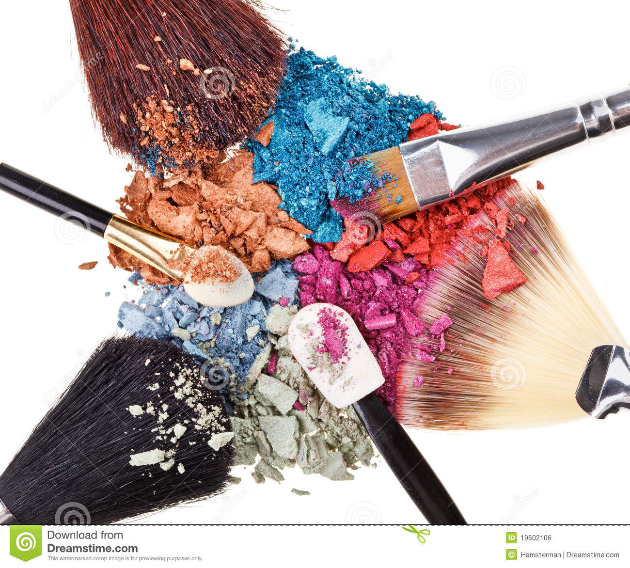 Composition with makeup brushes and eye shadow
